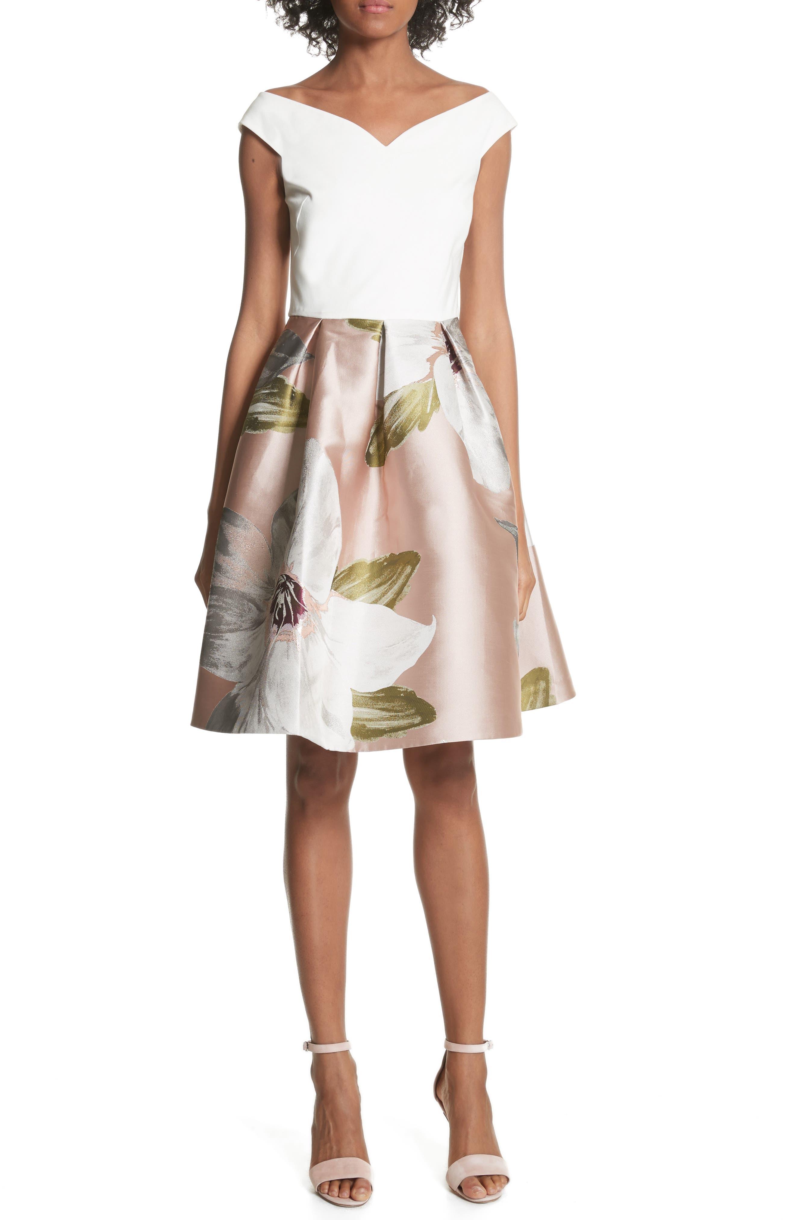 Chatsworth Fit & Flare Dress,                             Main thumbnail 1, color,                             Natural