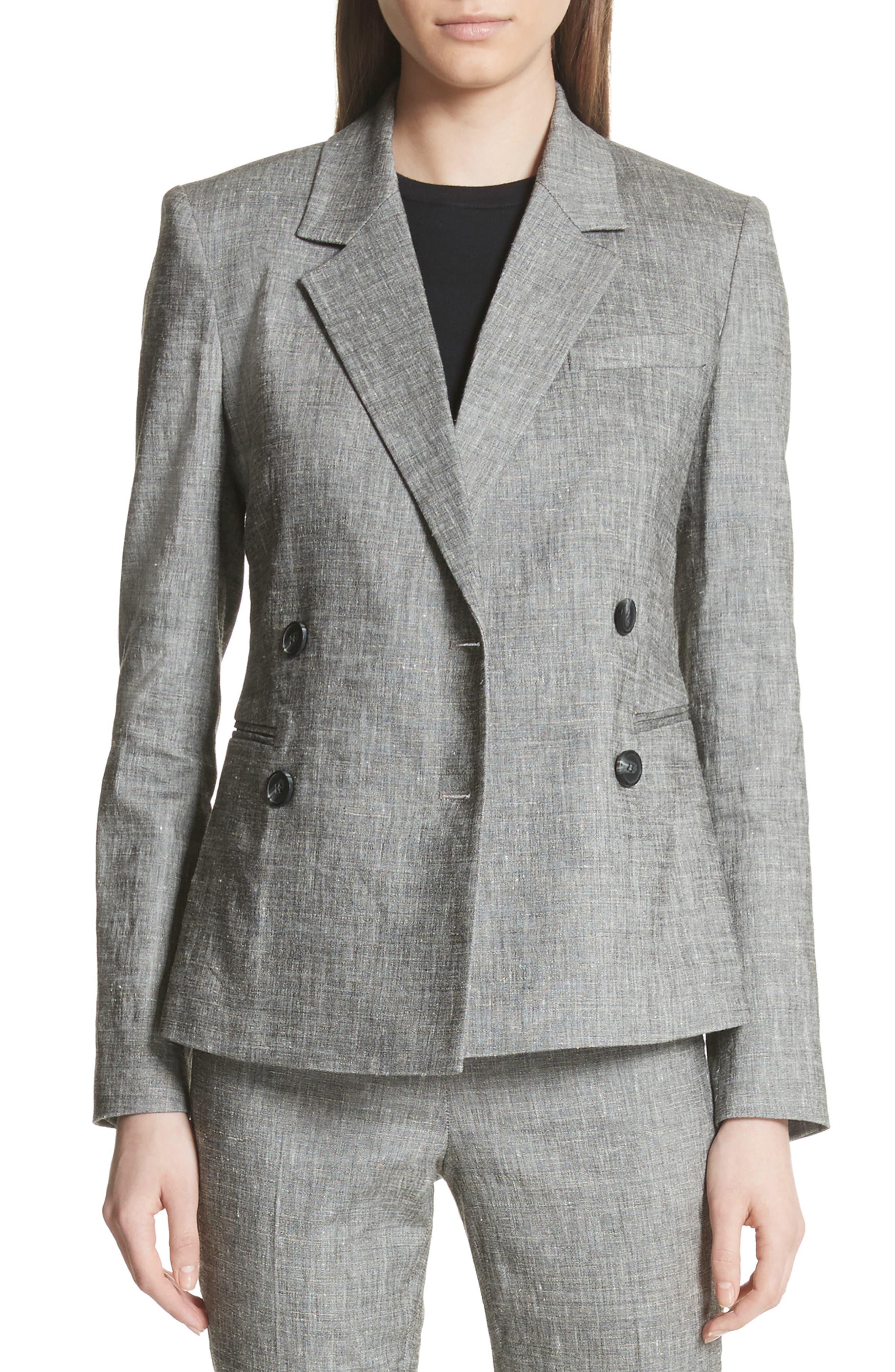Double Breasted Linen Blend Suit Jacket,                         Main,                         color, Black