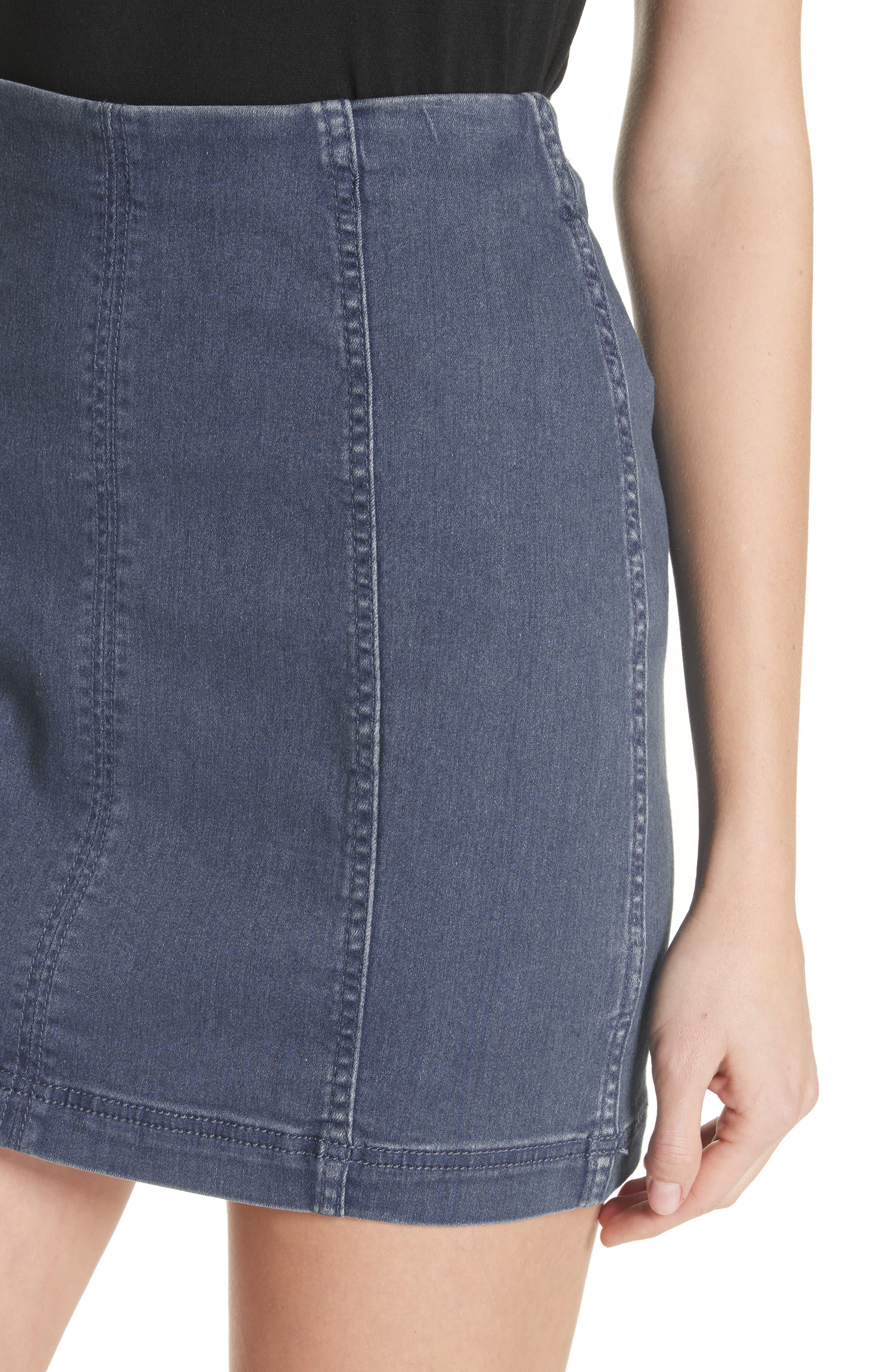 'Modern Femme' Denim Miniskirt,                             Alternate thumbnail 4, color,                             Blue