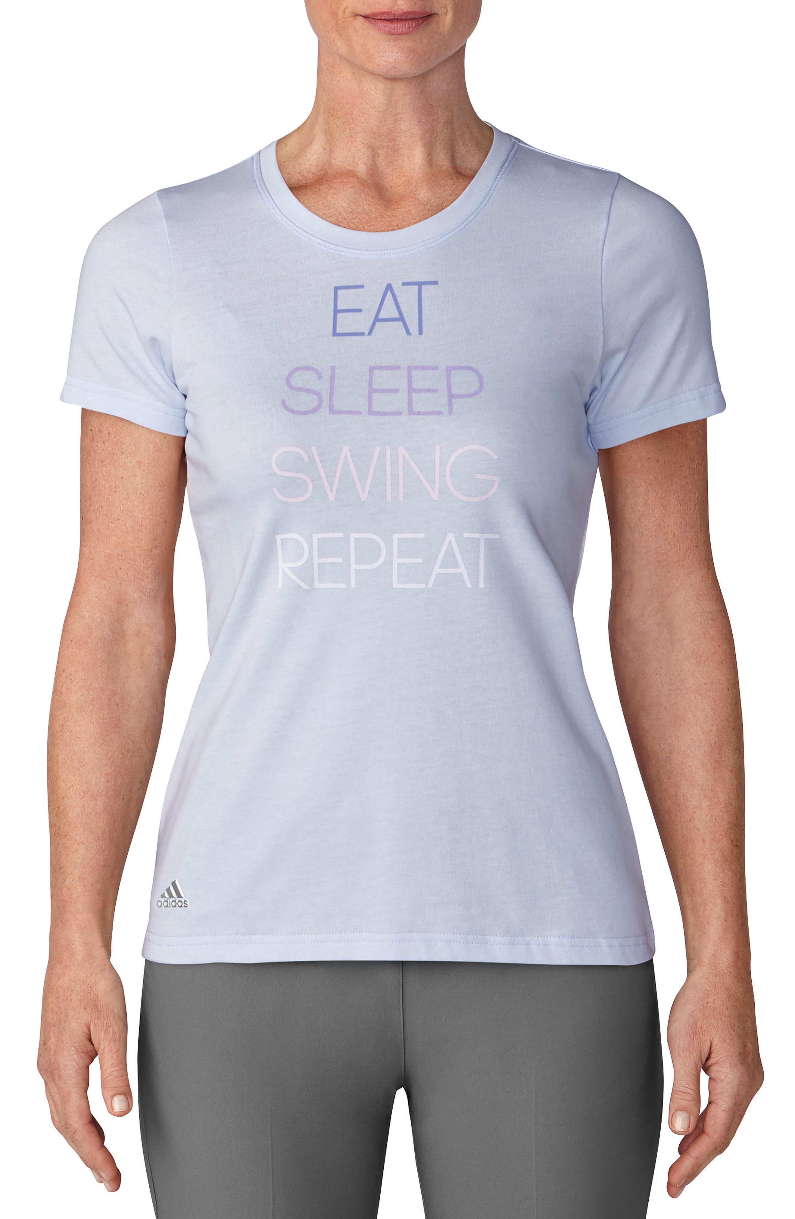 Eat, Swing, Sleep, Repeat Graphic Tee,                             Main thumbnail 1, color,                             Aero Blue