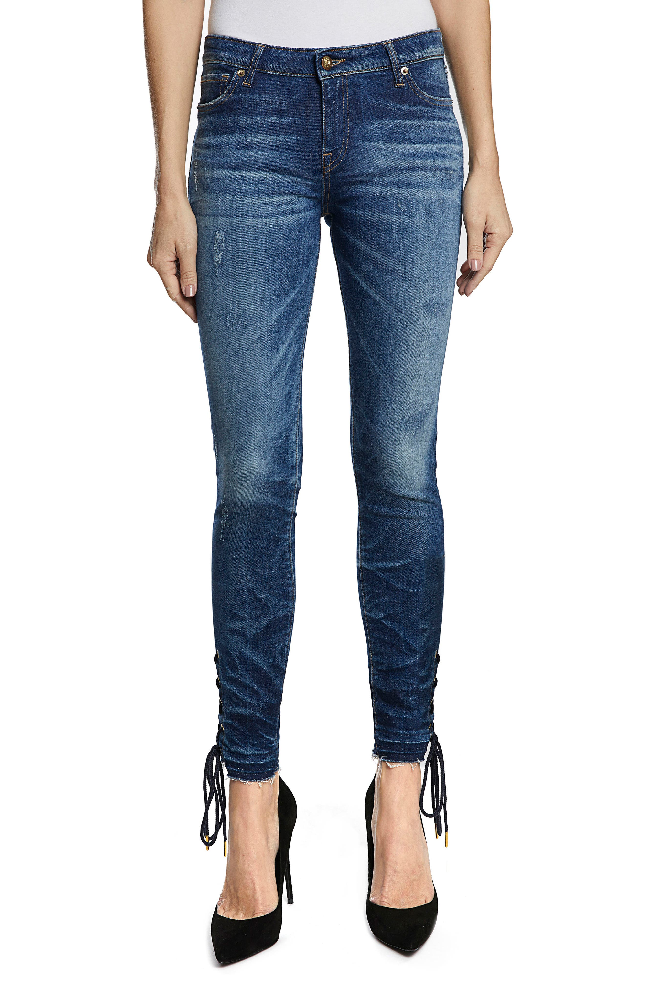 Camaro Lace-Up Ankle Skinny Jeans,                         Main,                         color, Indigo