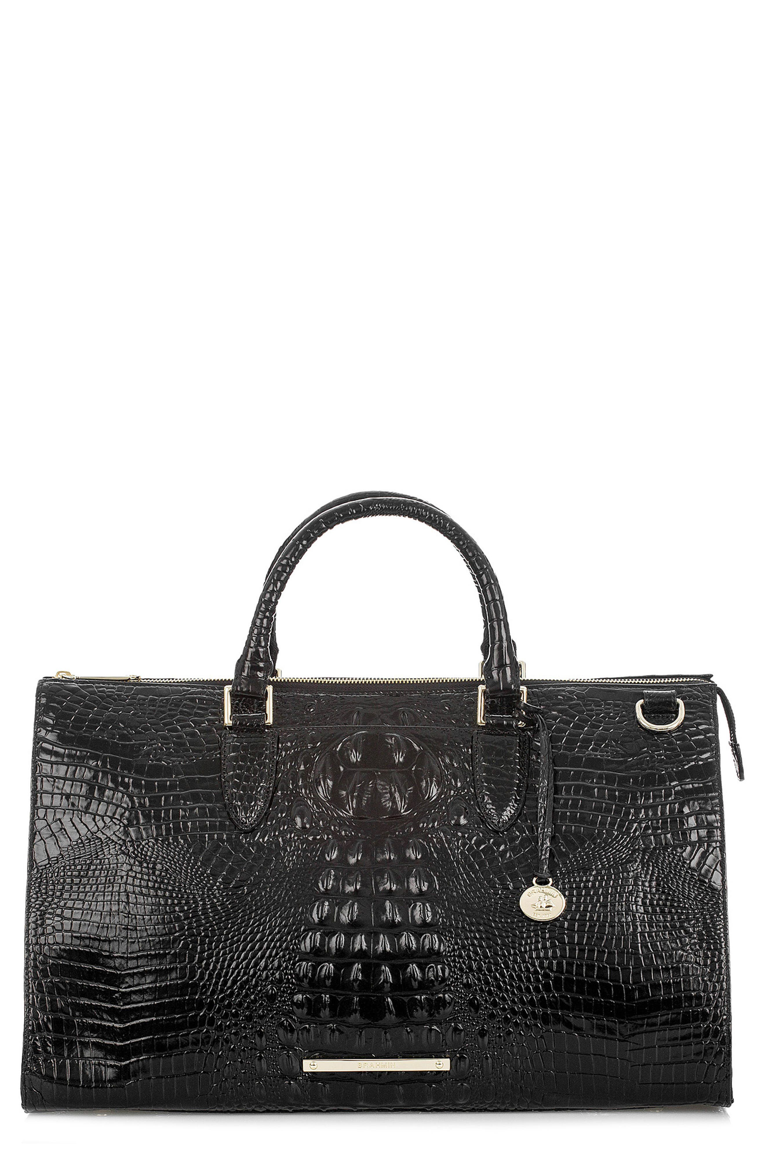 Anywhere Weekend Leather Bag,                         Main,                         color, Black