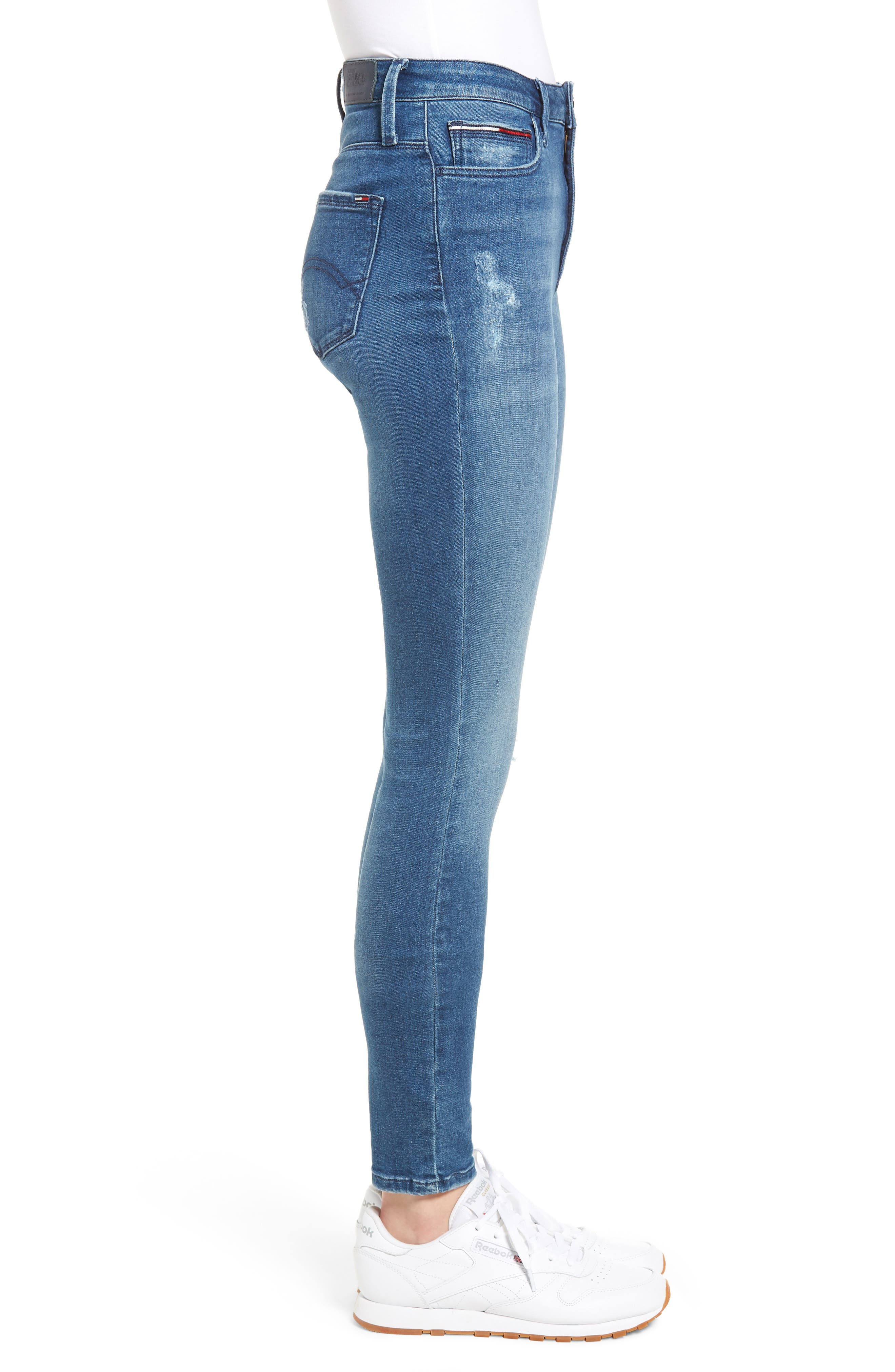Santana Ripped Skinny Jeans,                             Alternate thumbnail 3, color,                             Fargo Blue Stretch Destructed