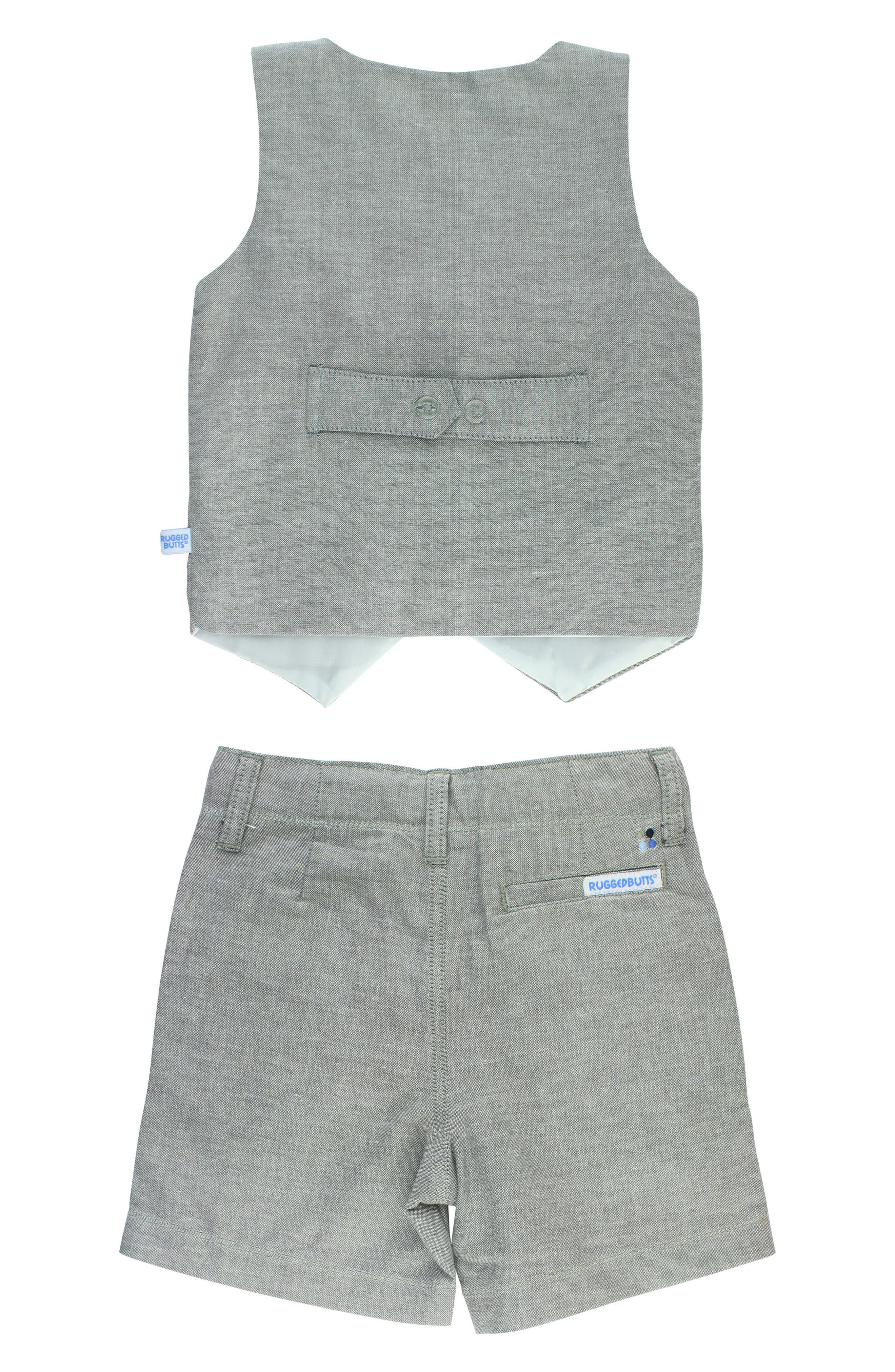 Chambray Vest & Shorts Set,                             Alternate thumbnail 3, color,                             Gray