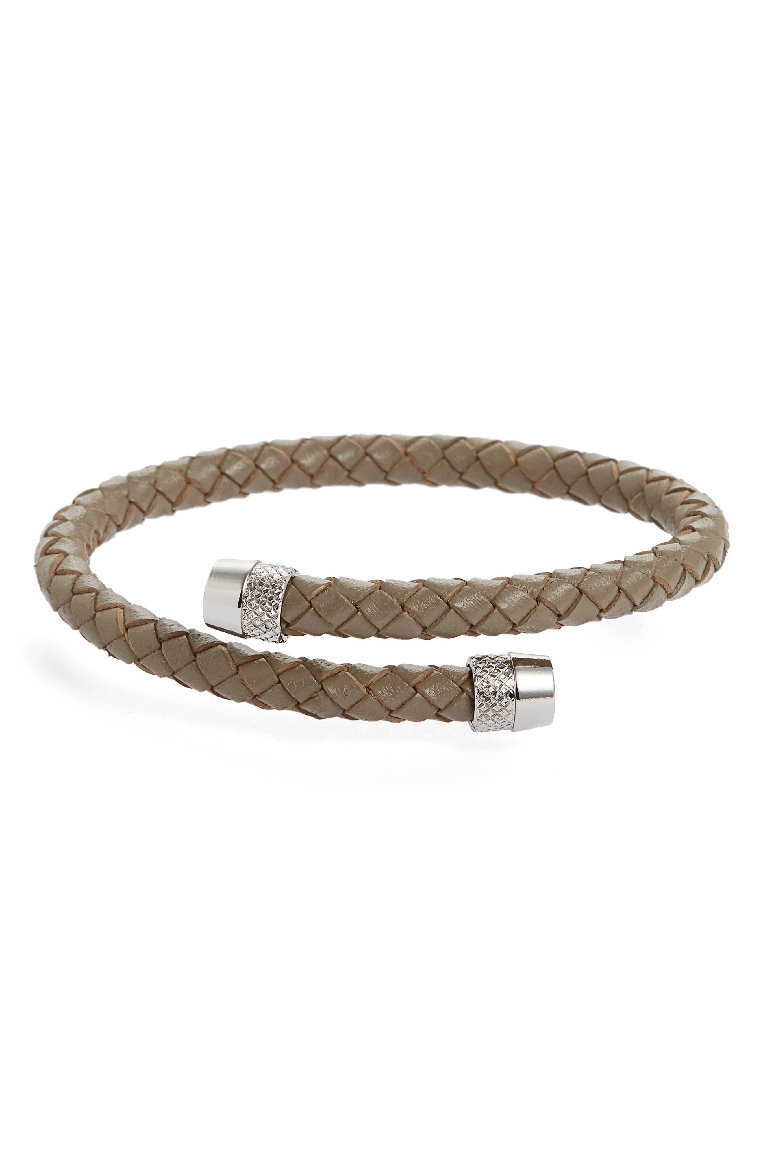 Scores Leather Bracelet,                         Main,                         color, Grey