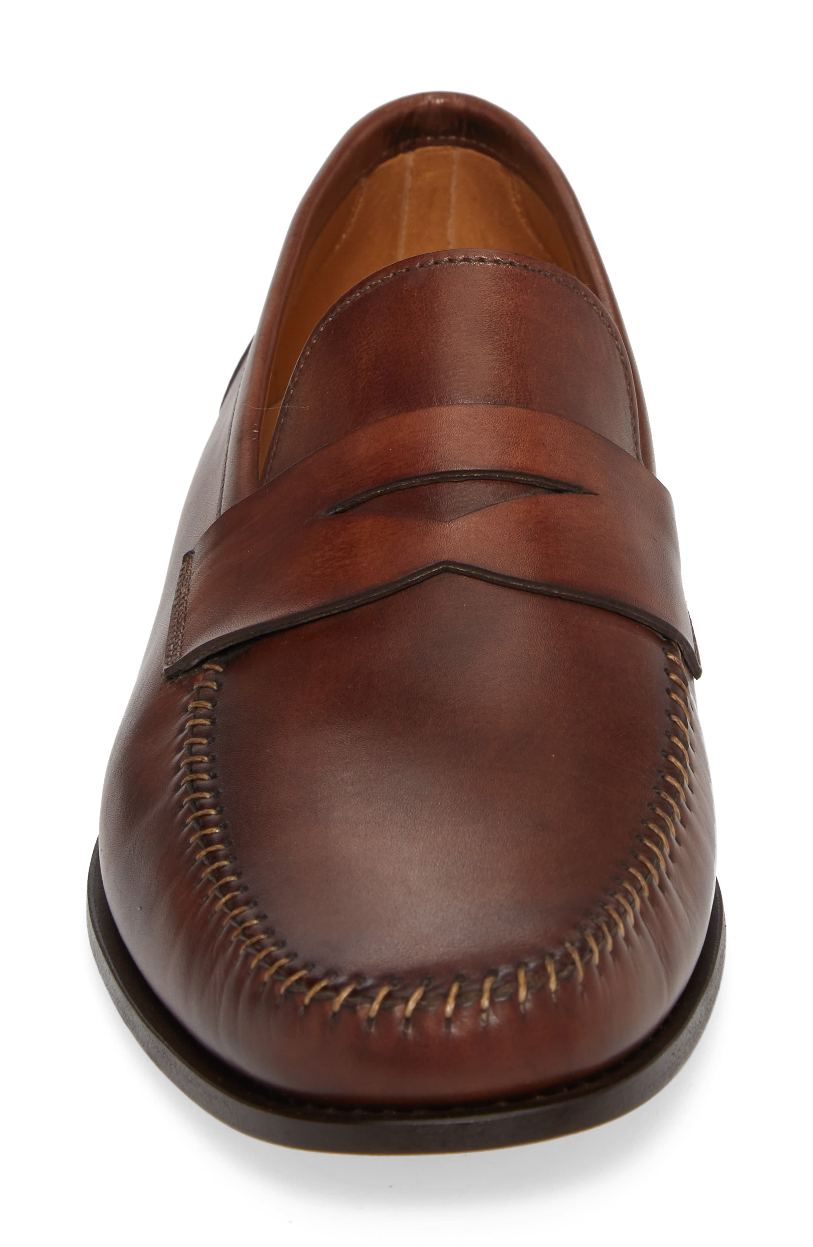 Ramos Moc Toe Penny Loafer,                             Alternate thumbnail 4, color,                             Brown Leather