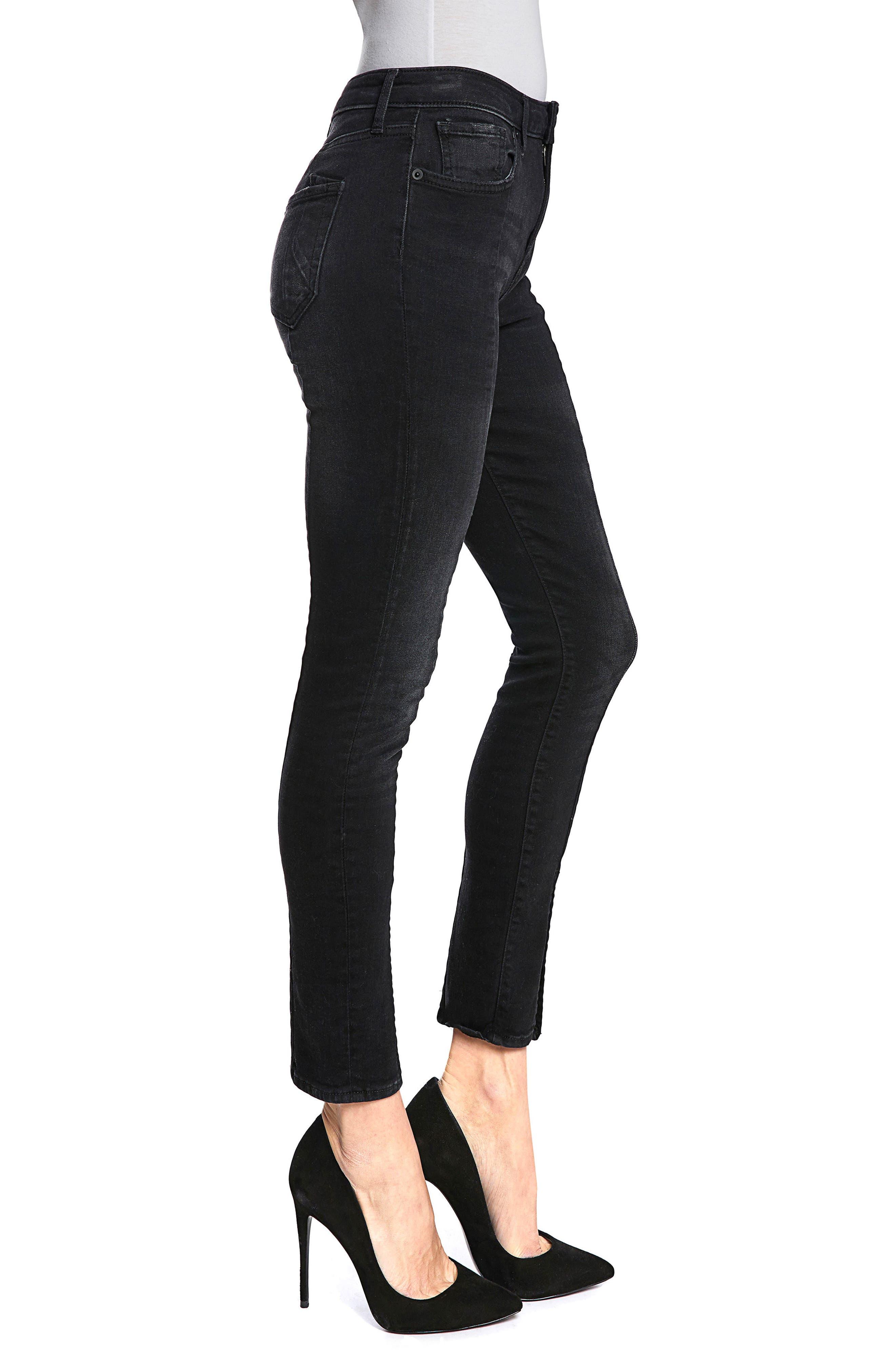 Chevelle Split Ankle Skinny Jeans,                             Alternate thumbnail 3, color,                             Black