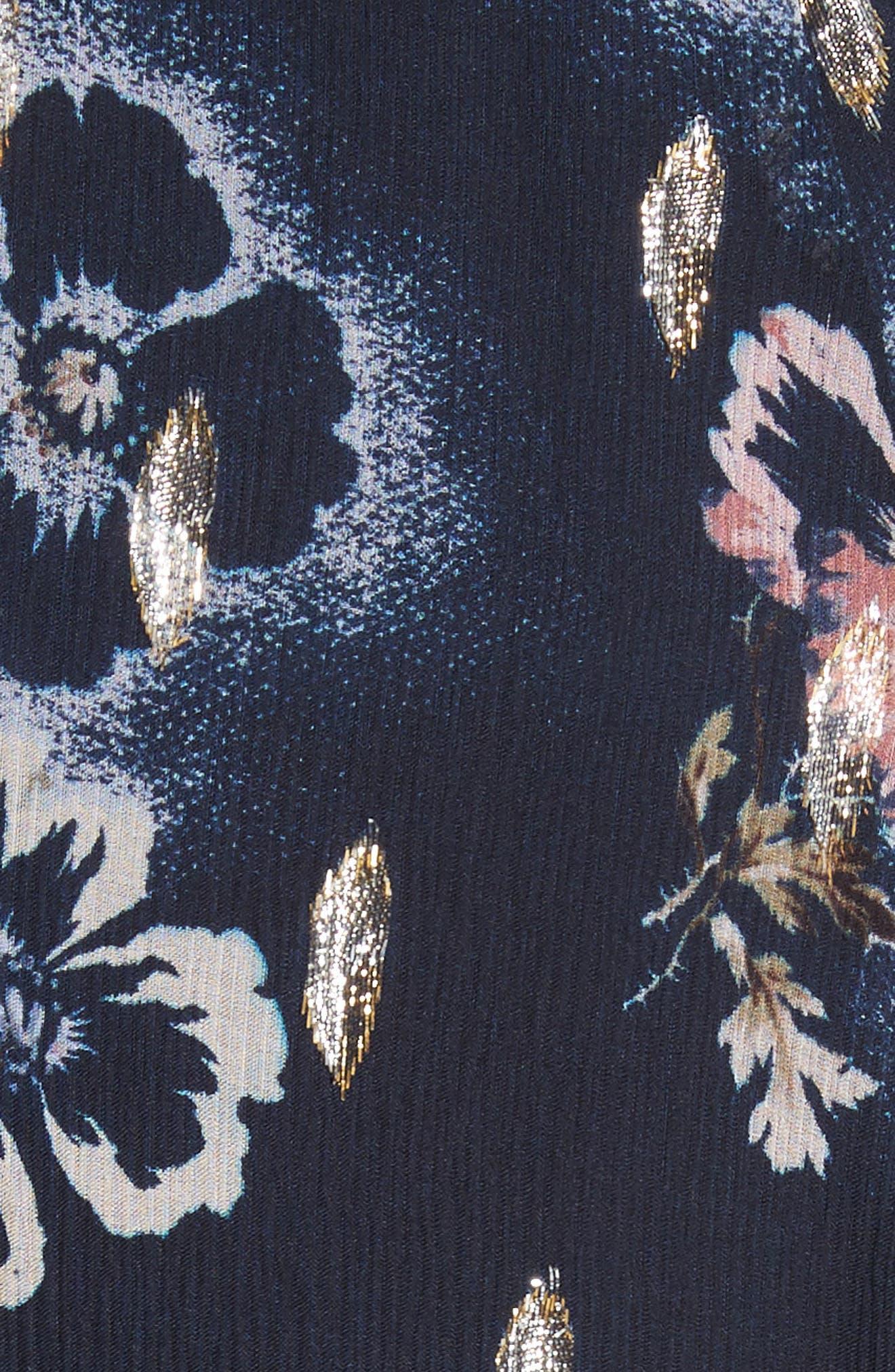 Faded Floral Midi Skirt,                             Alternate thumbnail 5, color,                             Navy