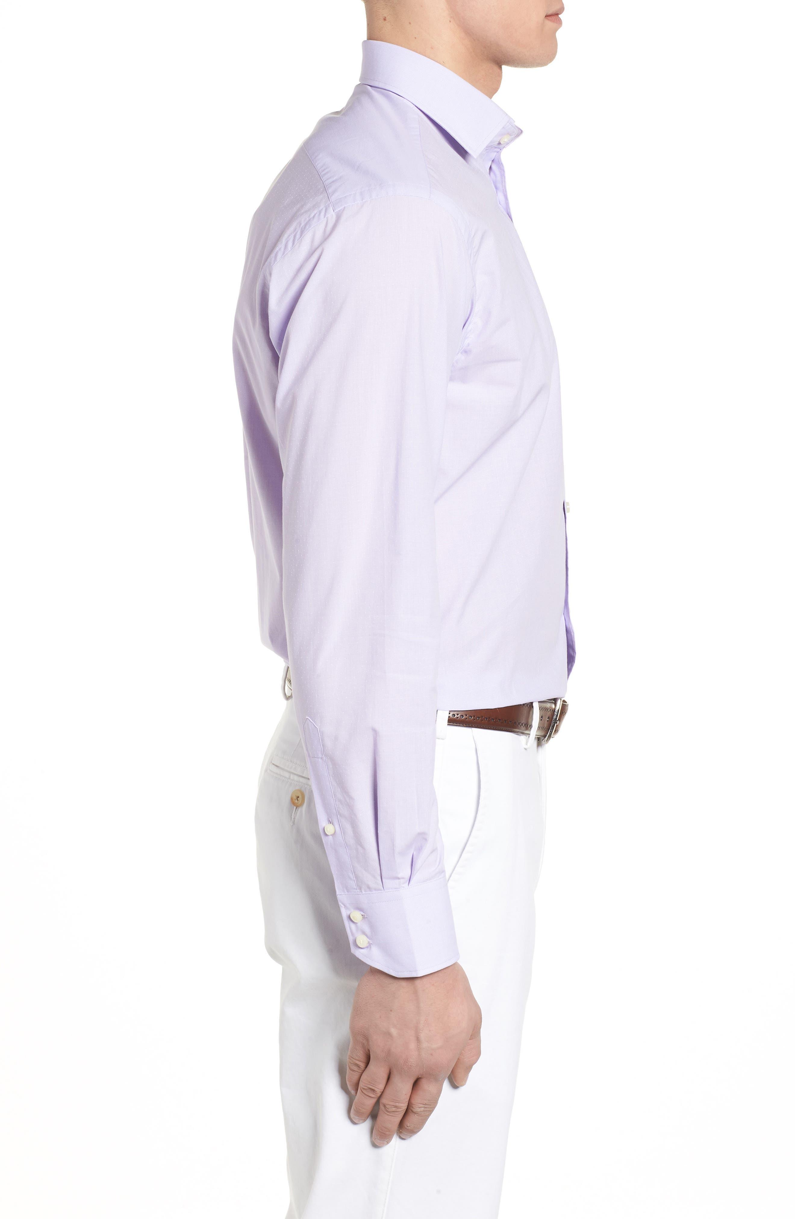 Large Check Sport Shirt,                             Alternate thumbnail 3, color,                             Purple