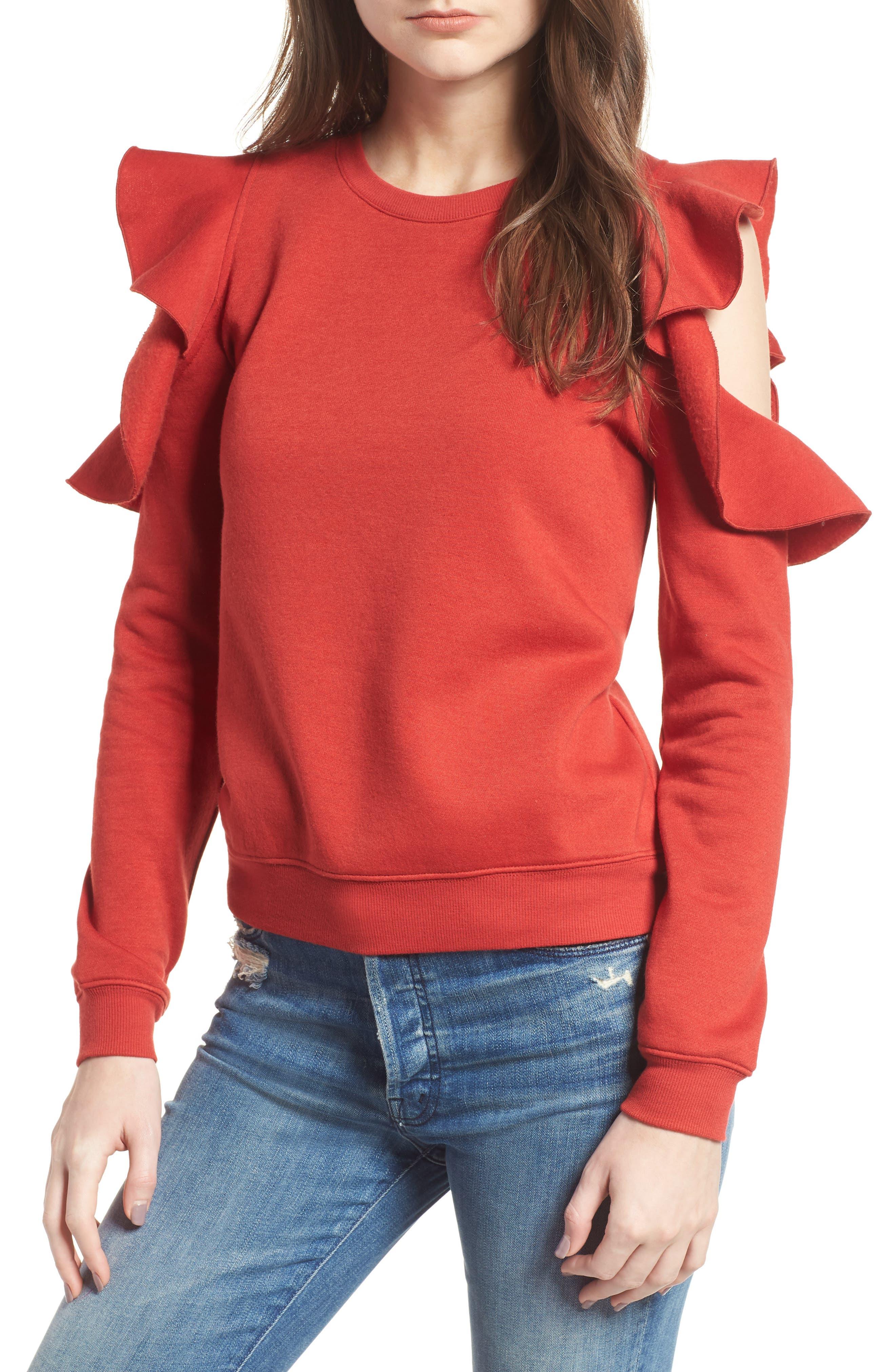 Gracie Cold Shoulder Sweatshirt,                         Main,                         color, Terracotta