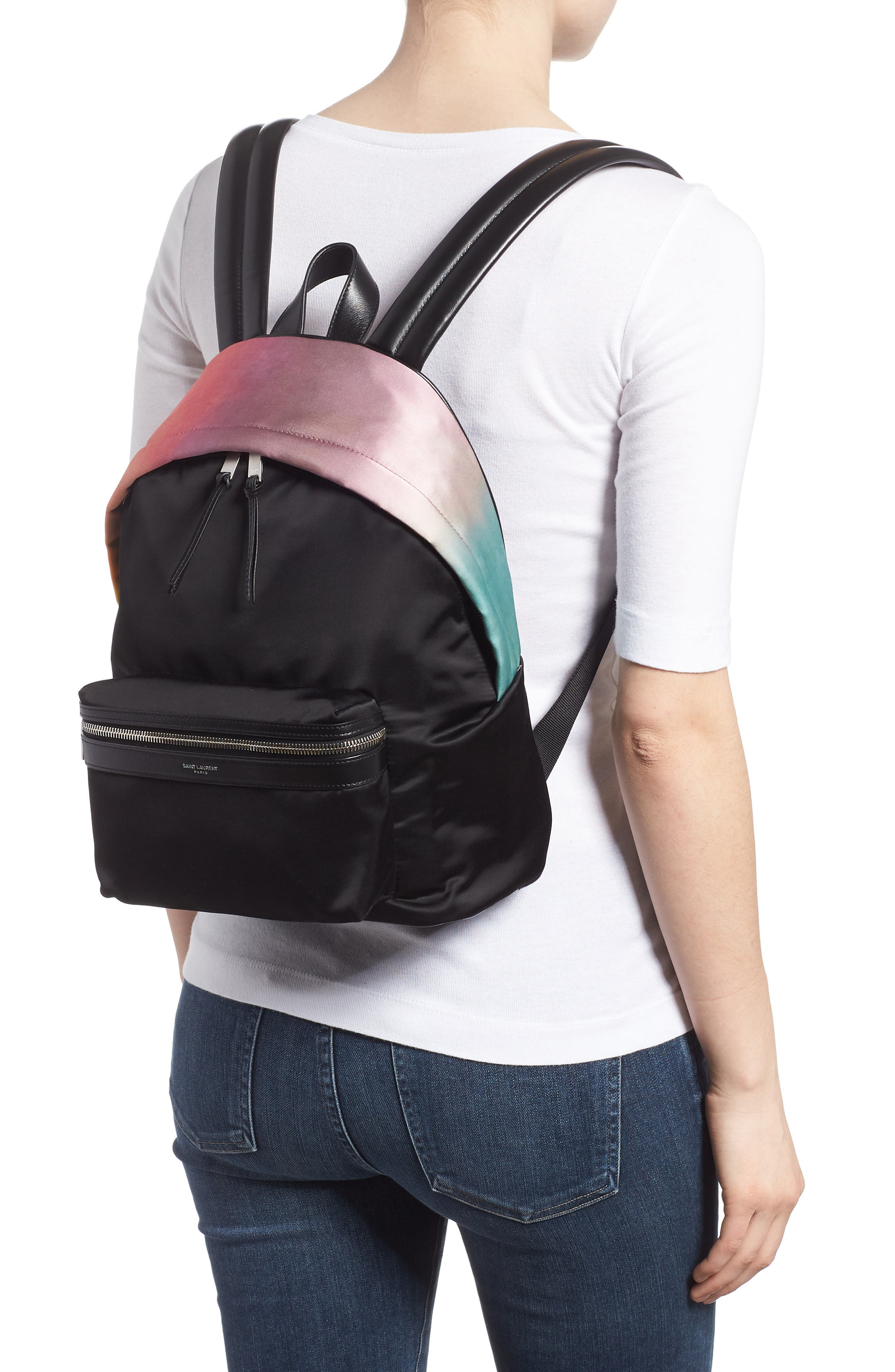 City Ombré Print Satin Backpack,                             Alternate thumbnail 2, color,                             Pink Multi