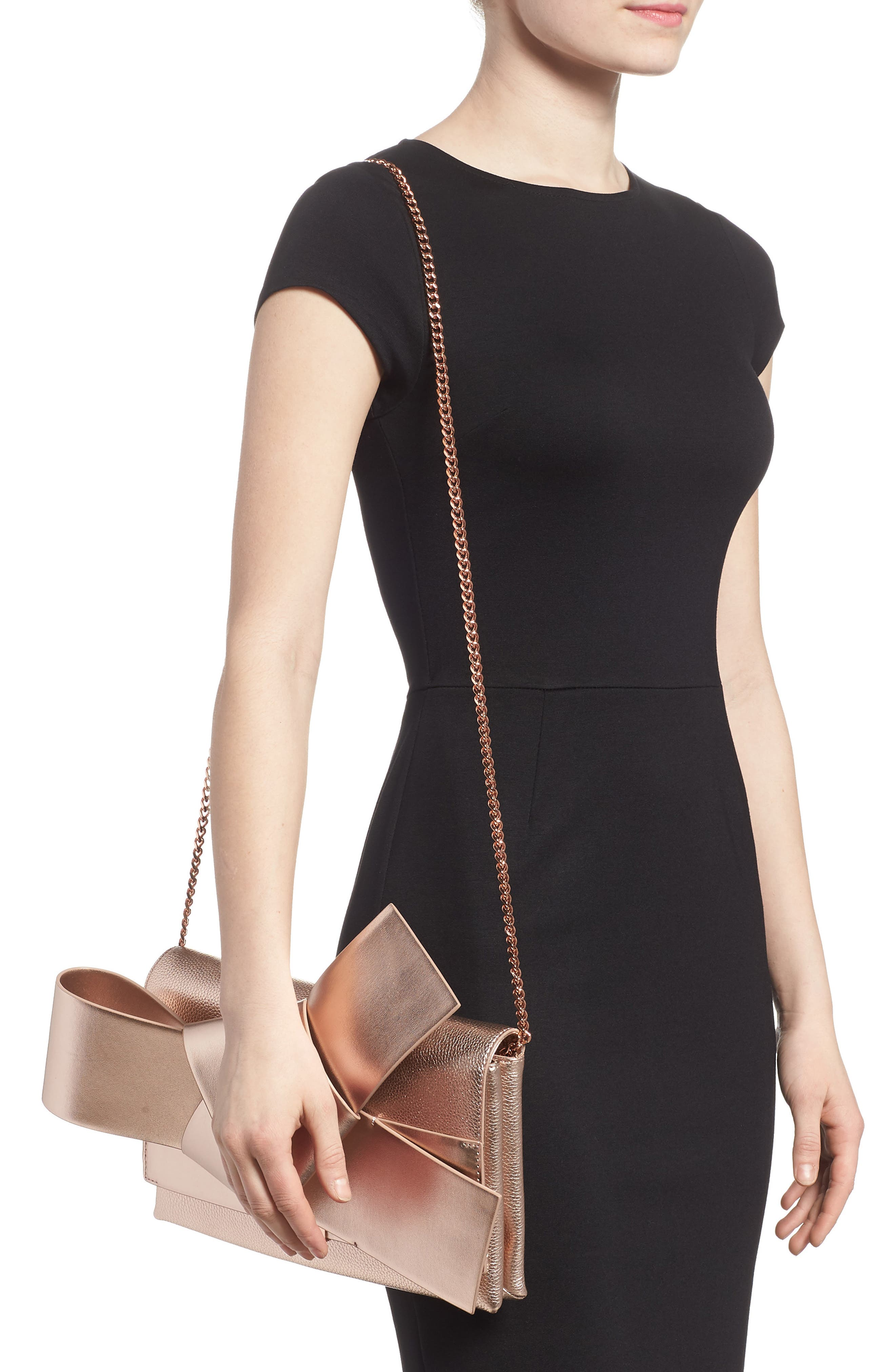 Knotted Bow Leather Clutch,                             Alternate thumbnail 2, color,                             Rose Gold