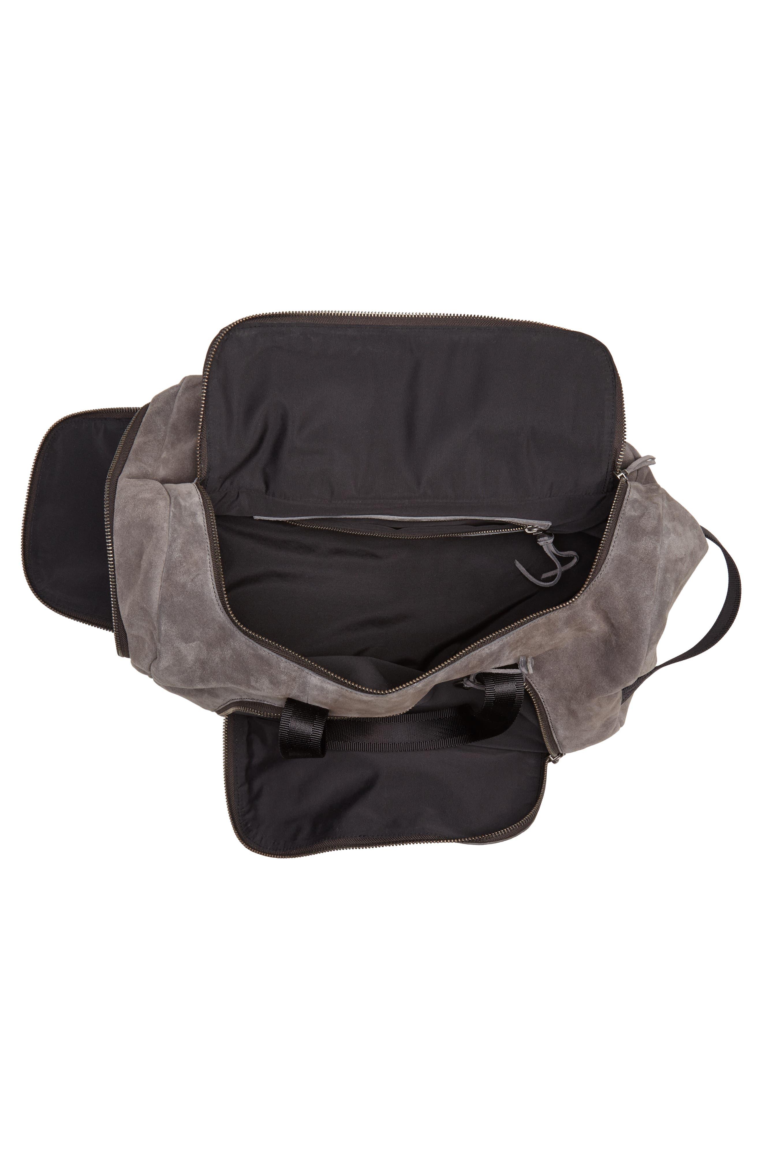 Brooklyn Suede Convertible Duffel Bag,                             Alternate thumbnail 5, color,                             Lead