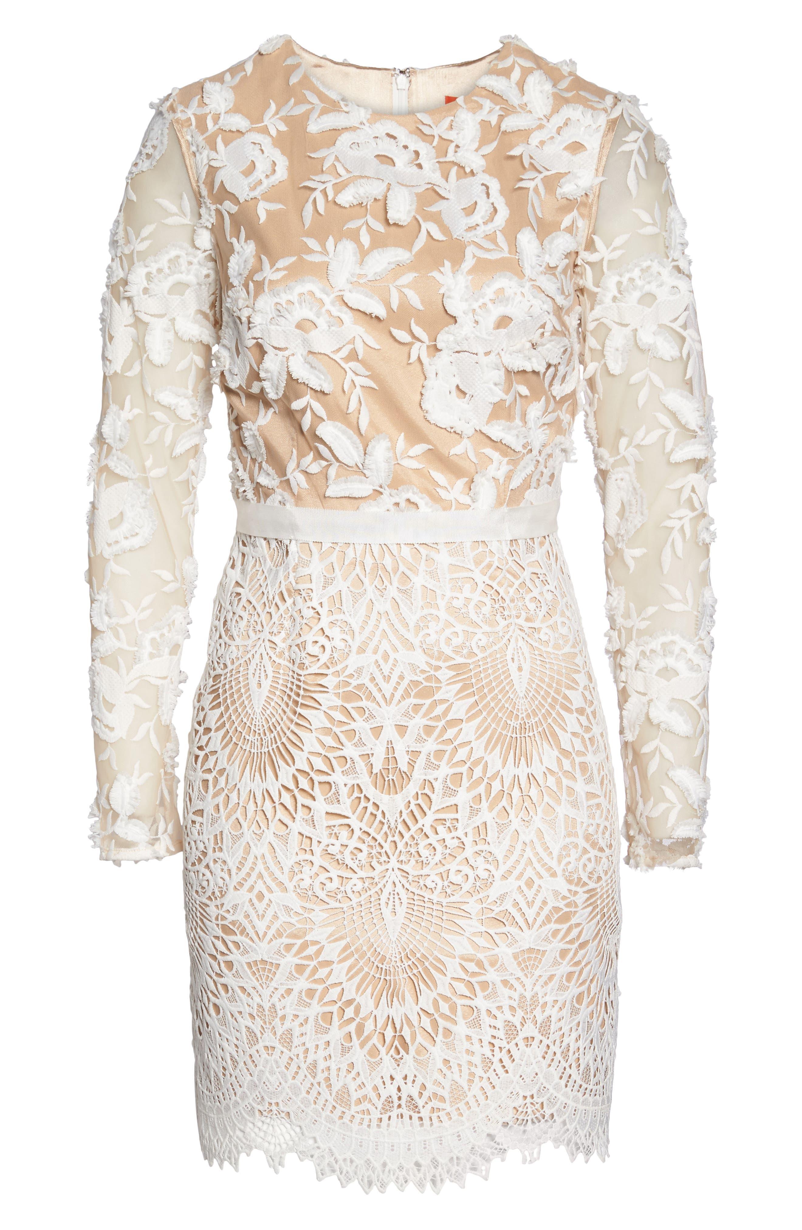Calypso Lace Sheath Dress,                             Alternate thumbnail 6, color,                             Ivory Nude