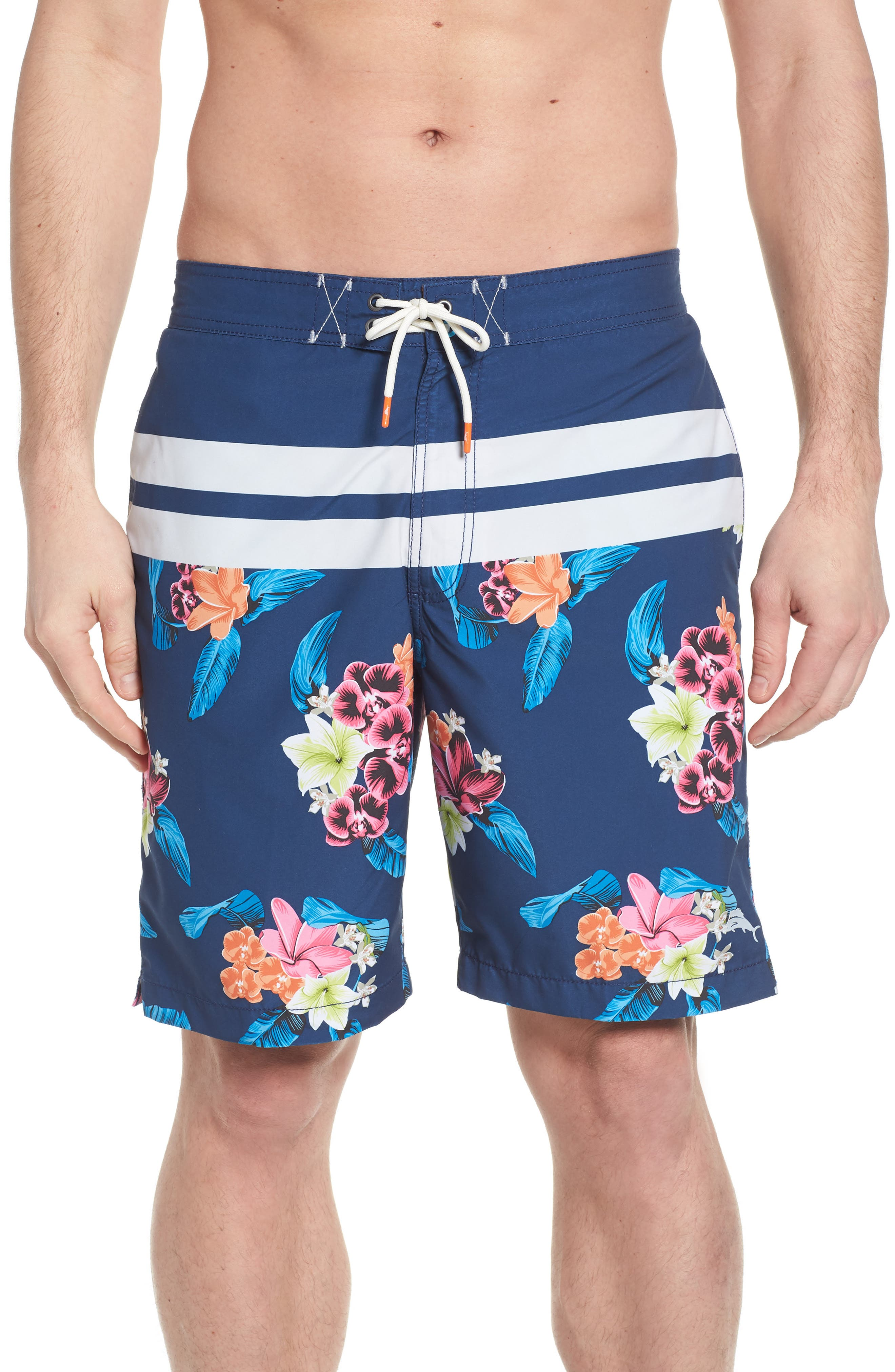 Baja Saltwater Blooms Board Shorts,                             Main thumbnail 1, color,                             Throne Blue