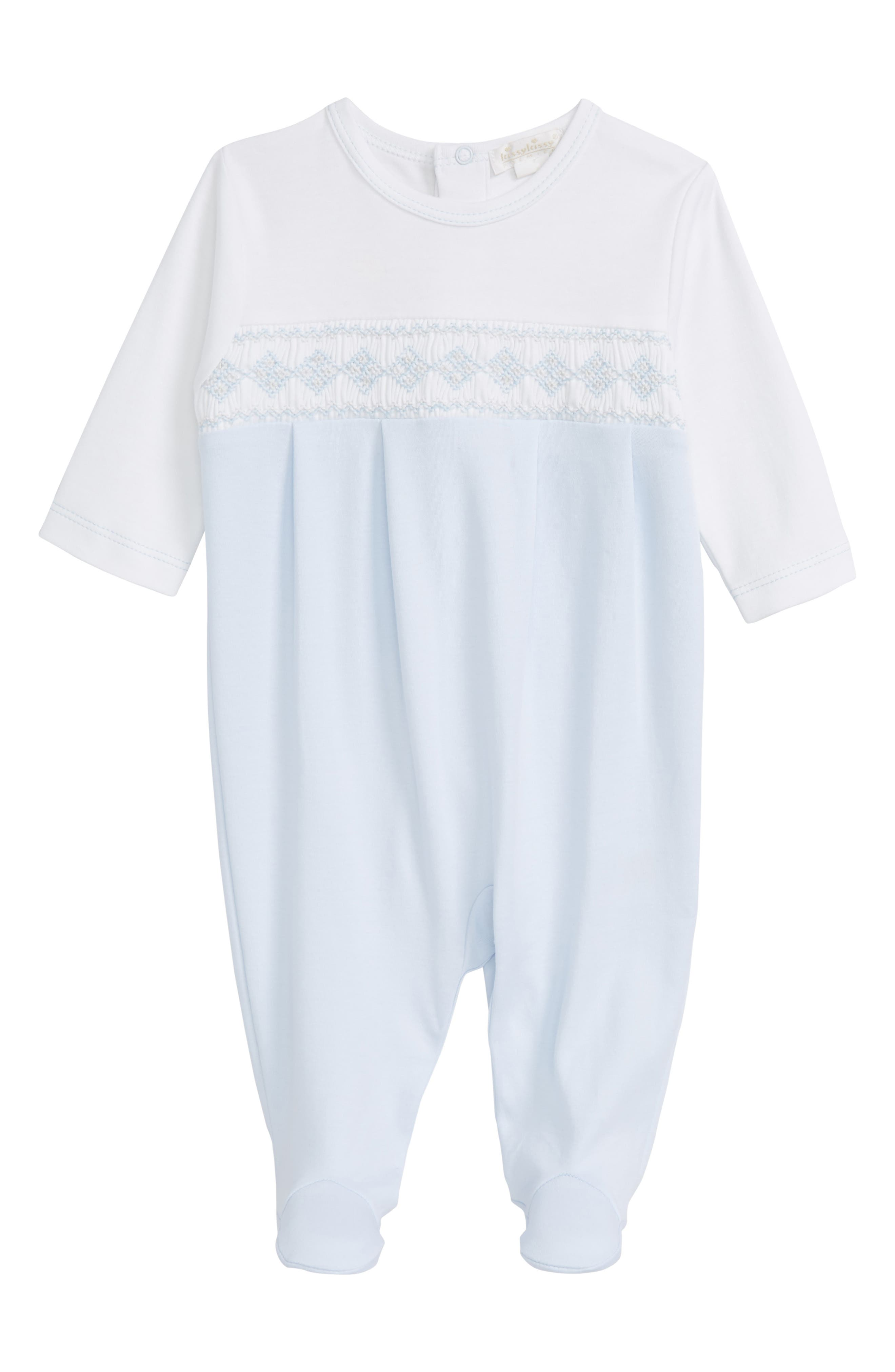 Main Image - Kissy Kissy Club Summer Smocked Pima Cotton Footie (Baby Boys)