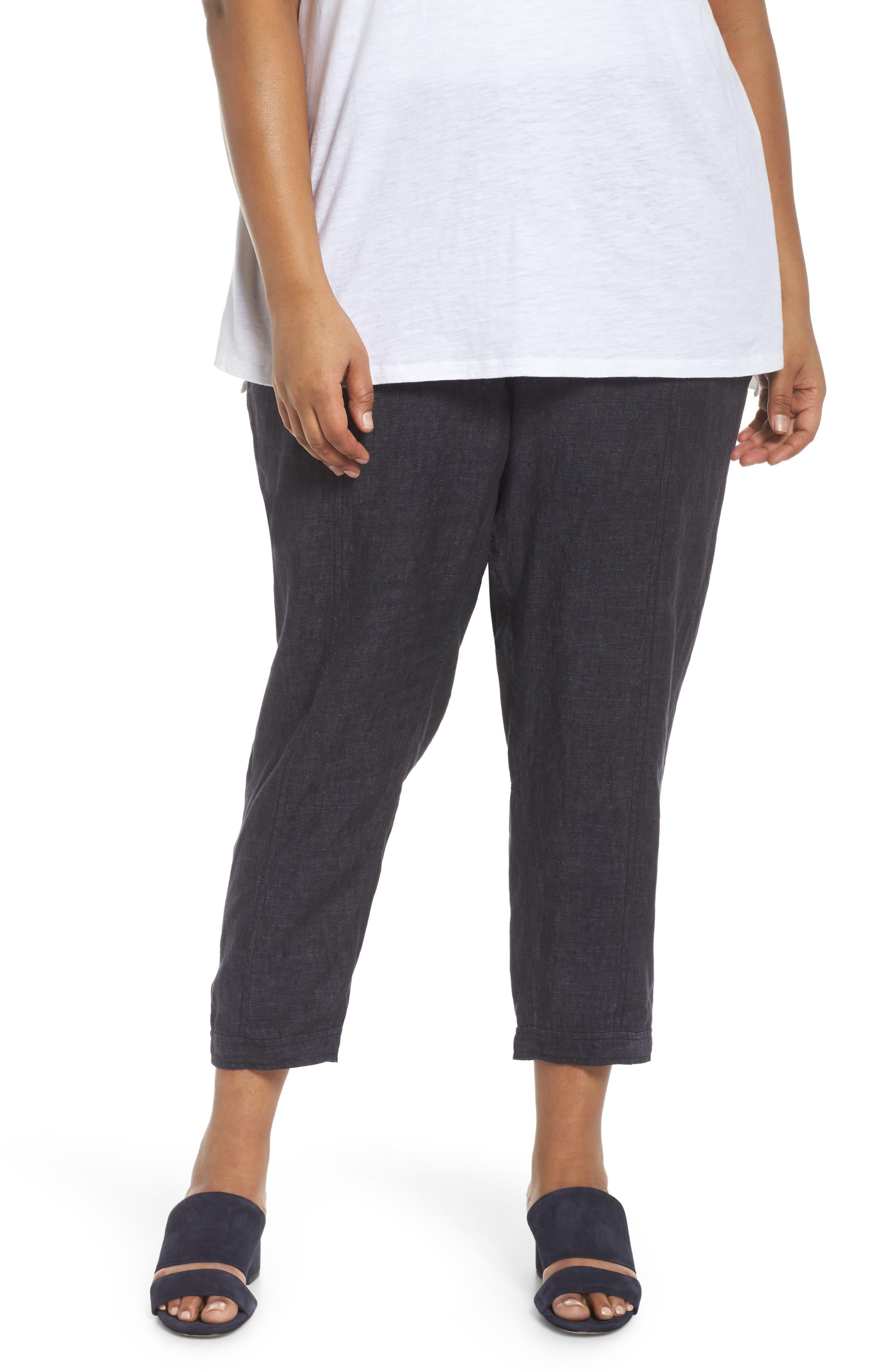 Easy Linen Ankle Pants,                             Main thumbnail 1, color,                             Denim