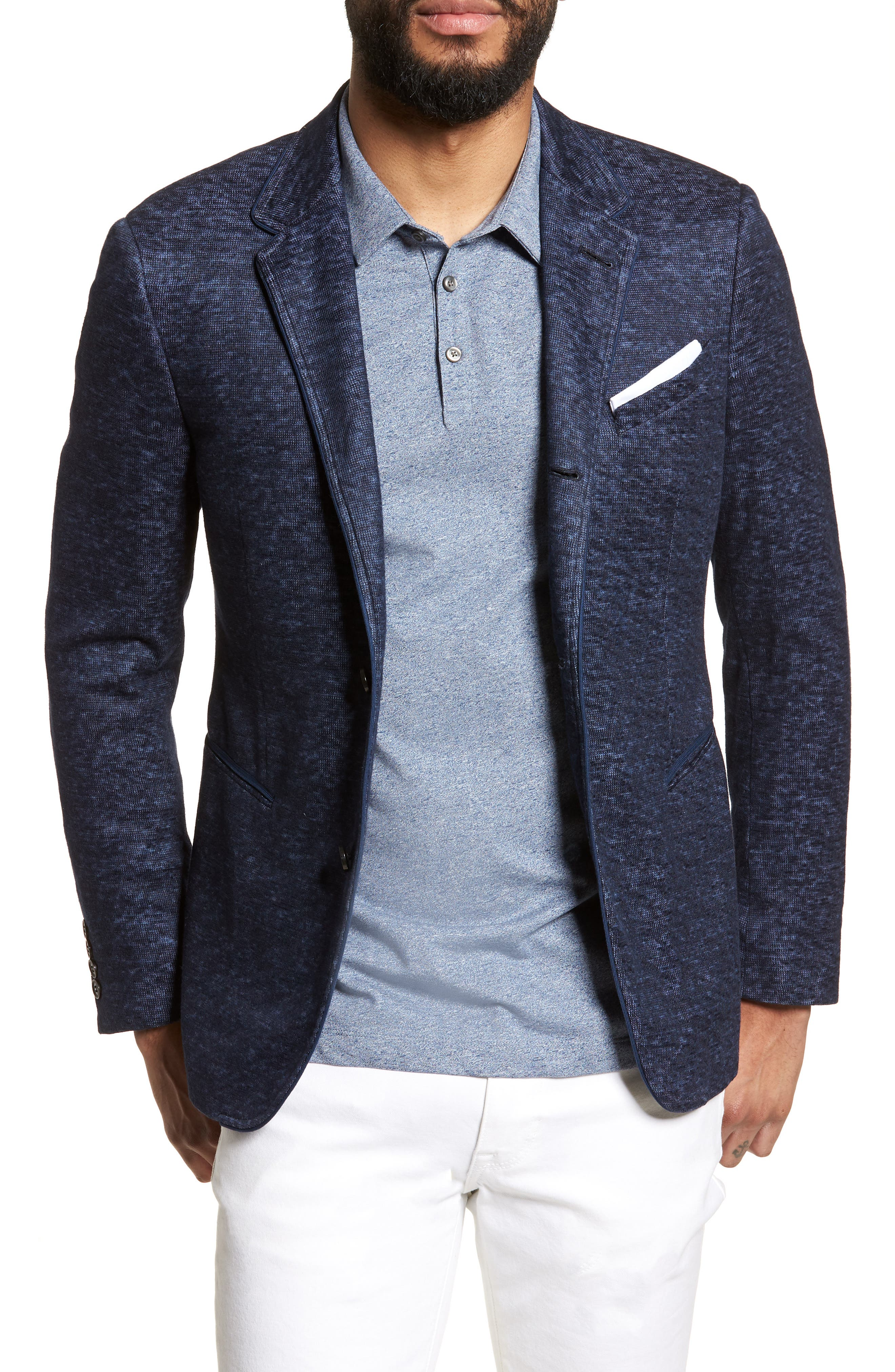 Regular Fit Cotton & Linen Blazer,                         Main,                         color, Officer Blue