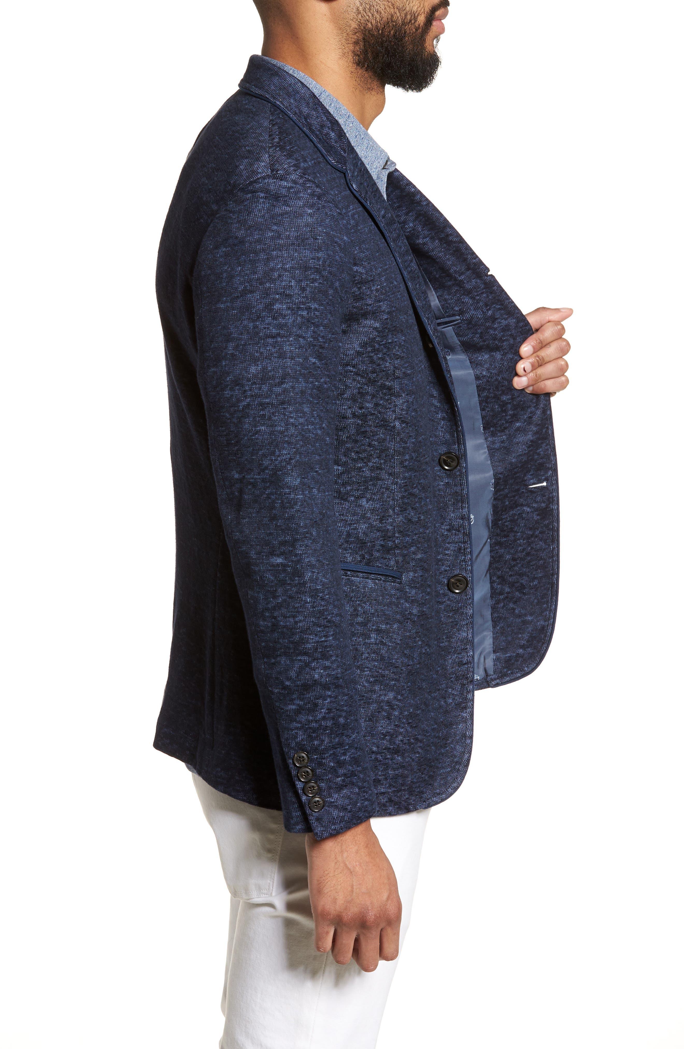 Regular Fit Cotton & Linen Blazer,                             Alternate thumbnail 3, color,                             Officer Blue