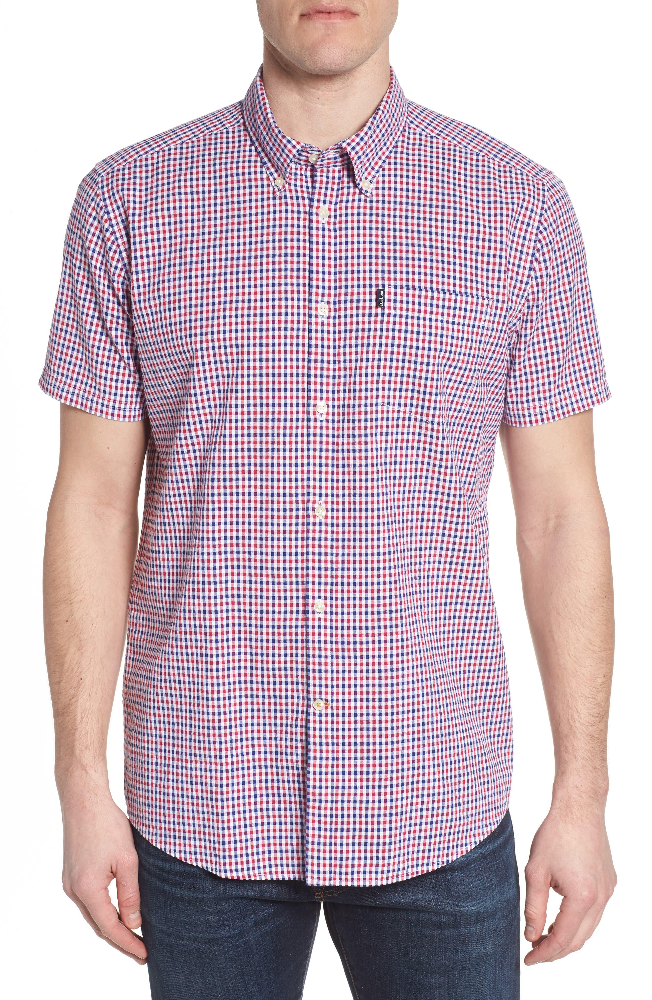 Taylor Regular Fit Check Short Sleeve Sport Shirt,                             Main thumbnail 1, color,                             Navy