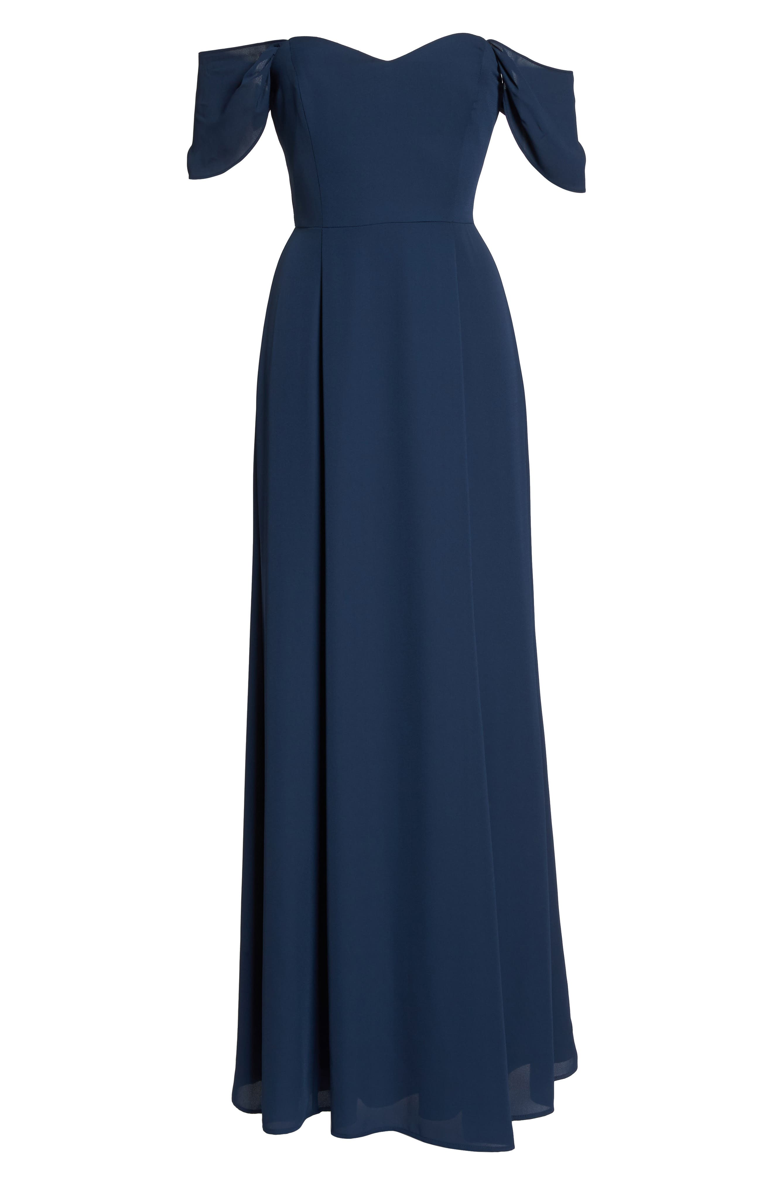 Rachel Off the Shoulder Gored Maxi Dress,                             Alternate thumbnail 6, color,                             Navy