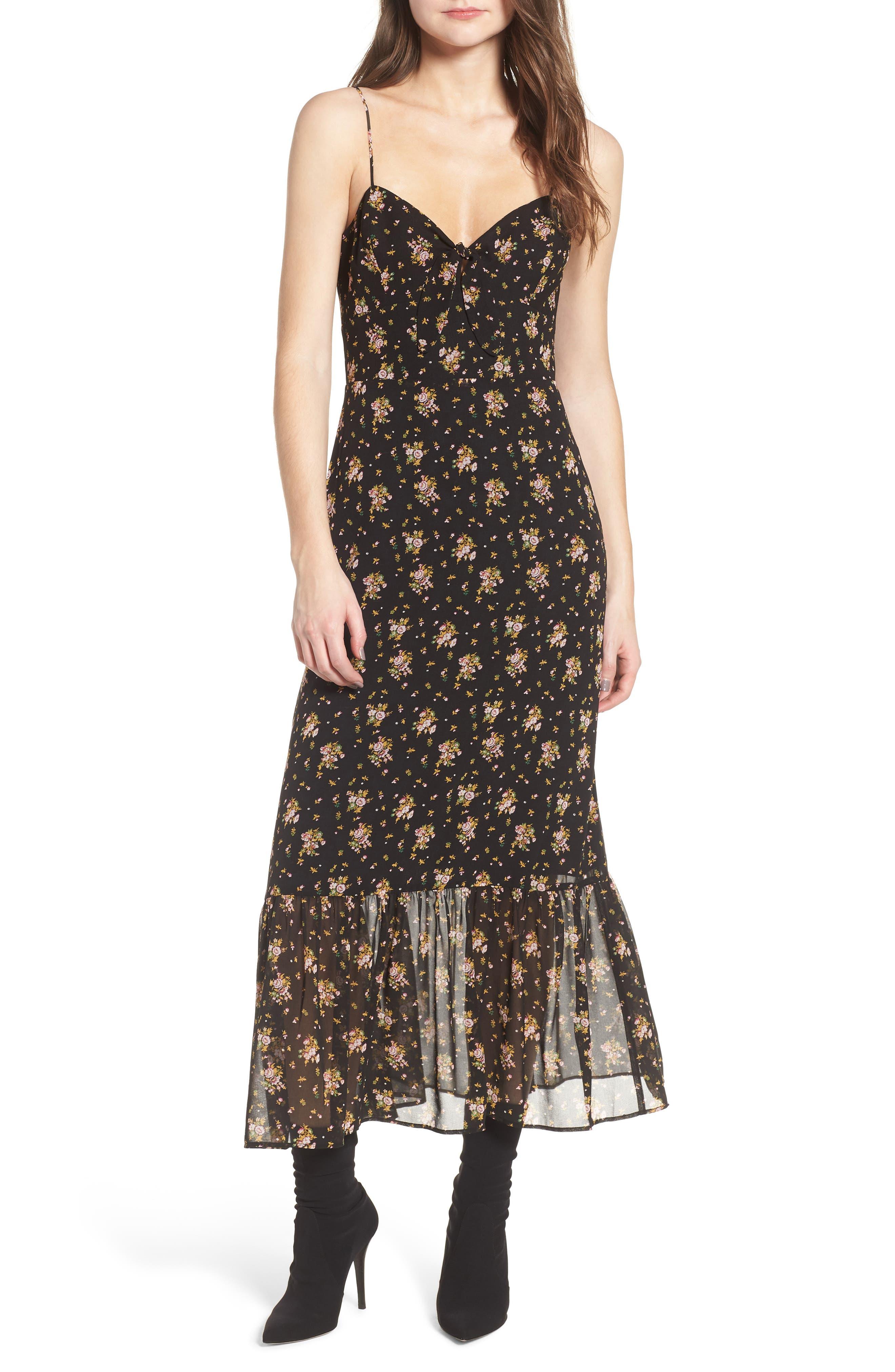 Tie Front Midi Dress,                             Main thumbnail 1, color,                             Black Ditzy Floral