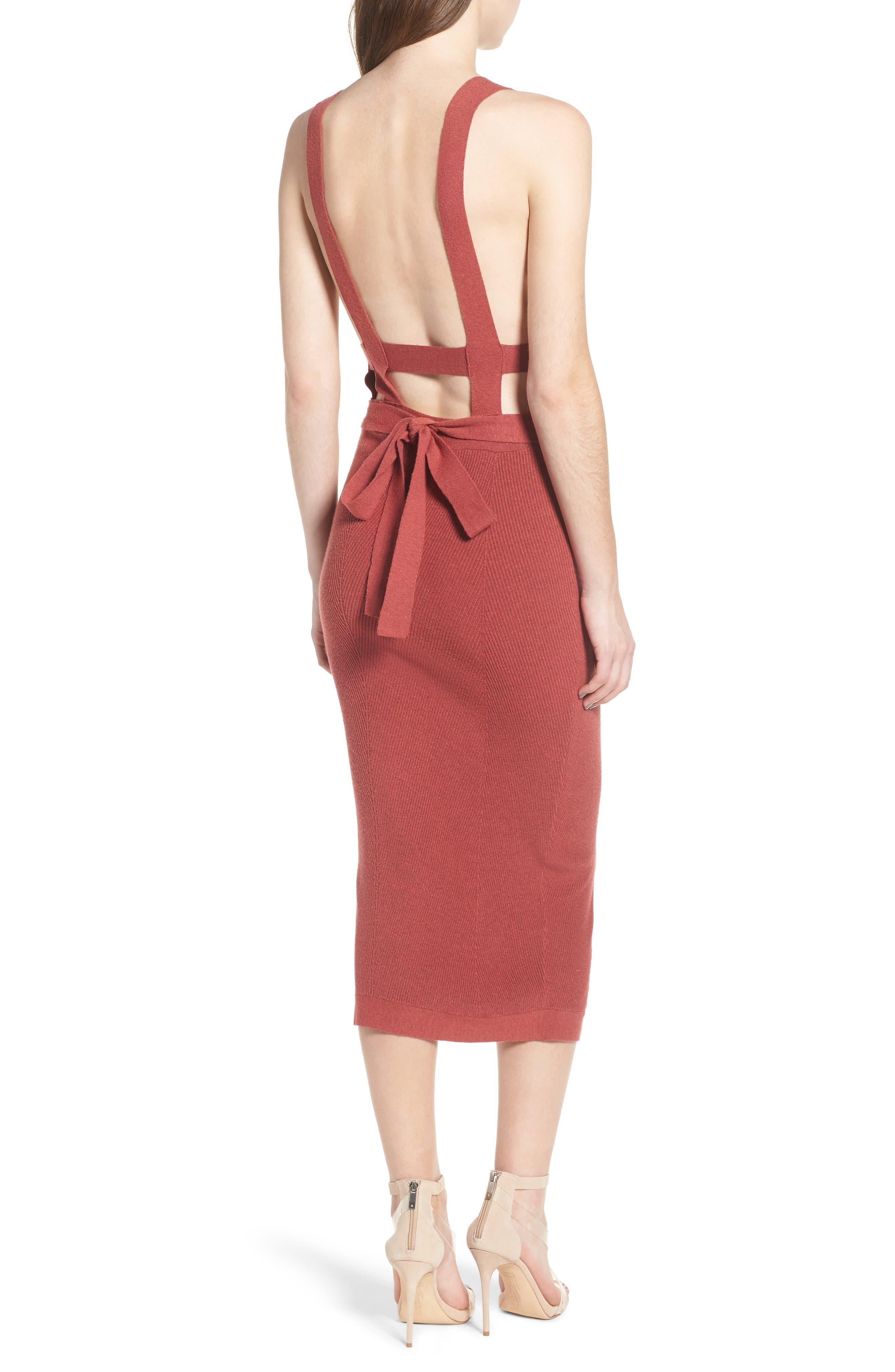 Midi Body-Con Dress,                             Alternate thumbnail 2, color,                             Red Baroque
