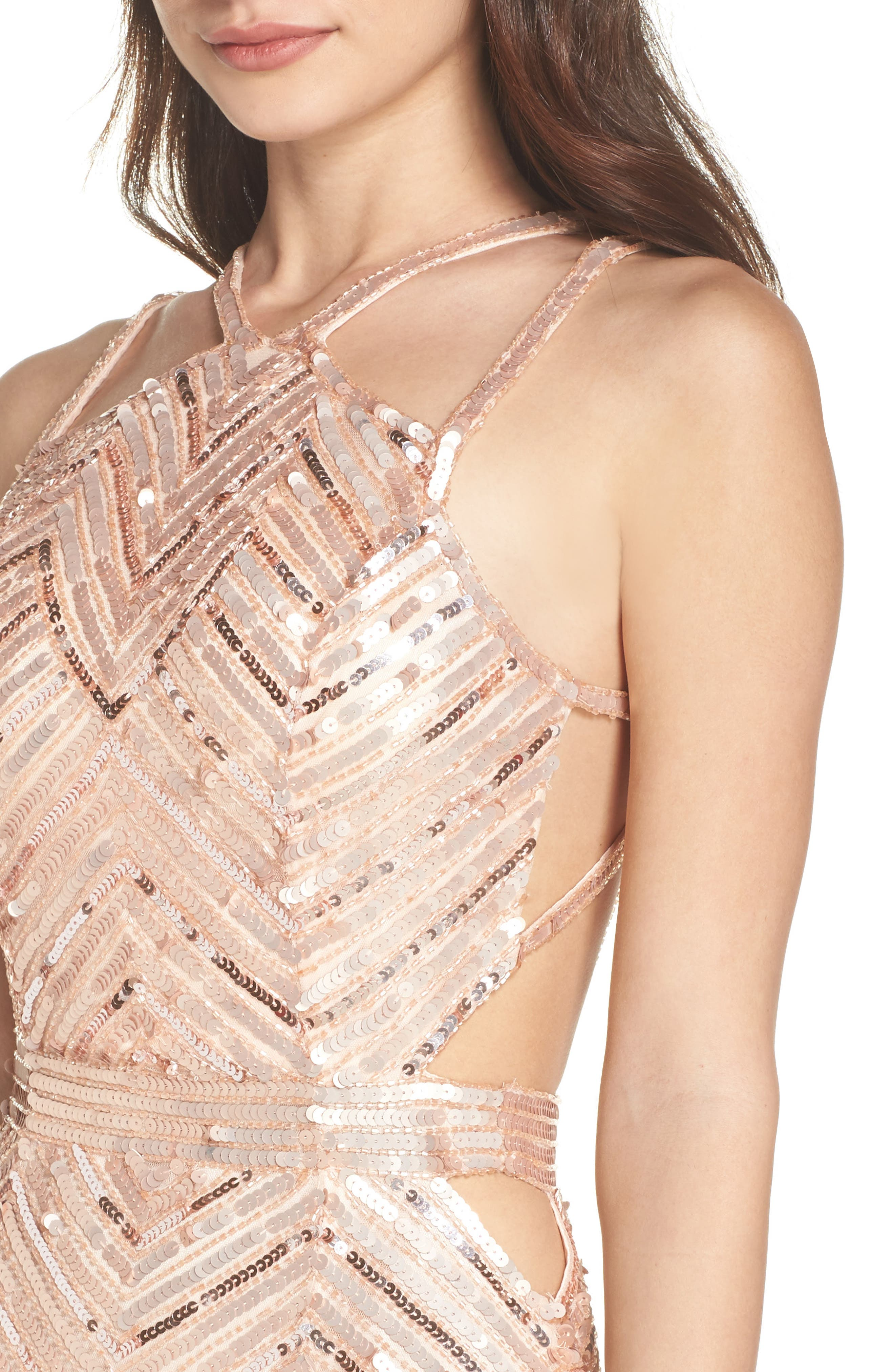 Sequin Strappy Gown,                             Alternate thumbnail 4, color,                             Rose Gold
