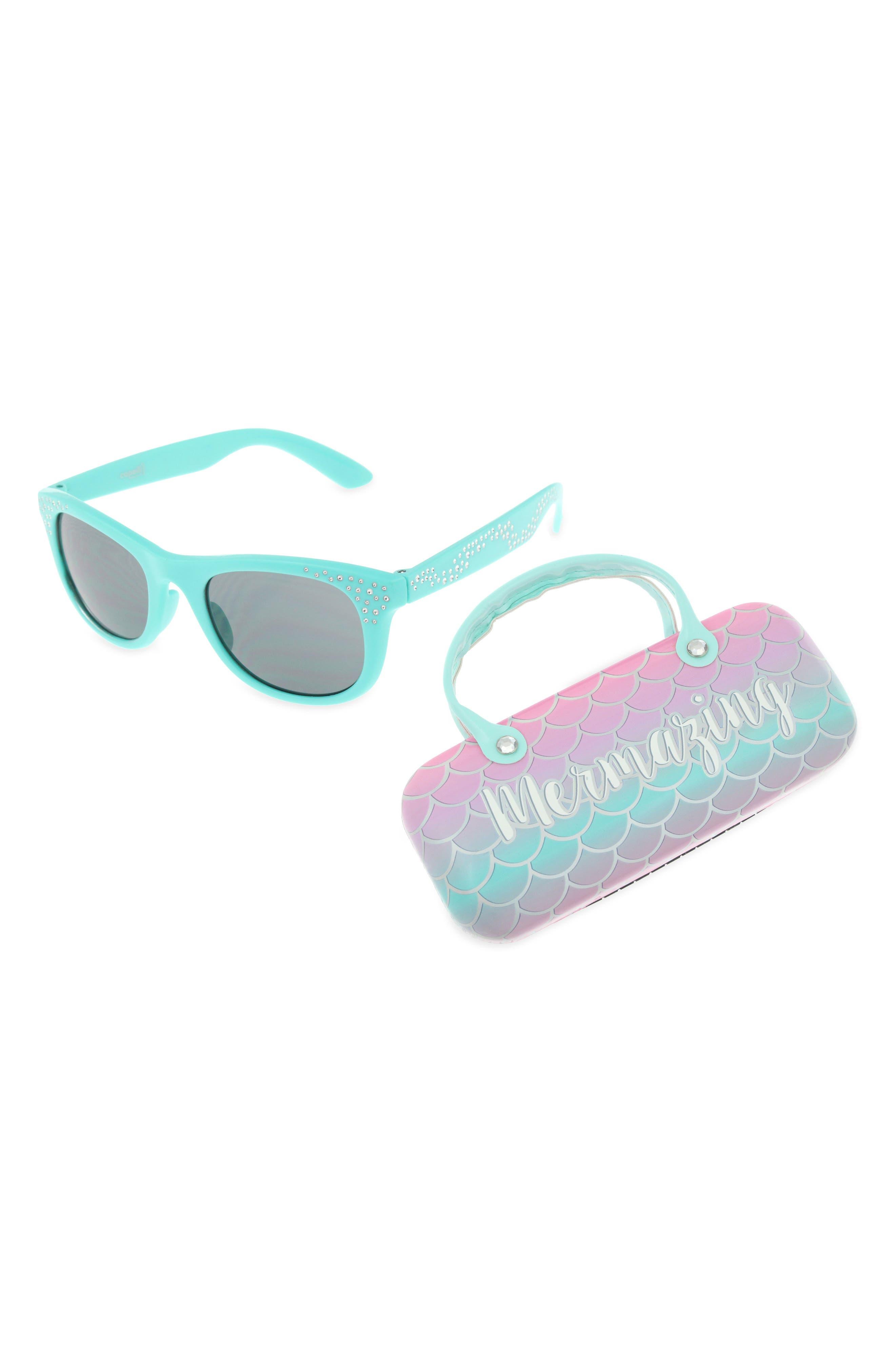 Mermazing 60mm Sunglasses & Case Set,                         Main,                         color, Mint