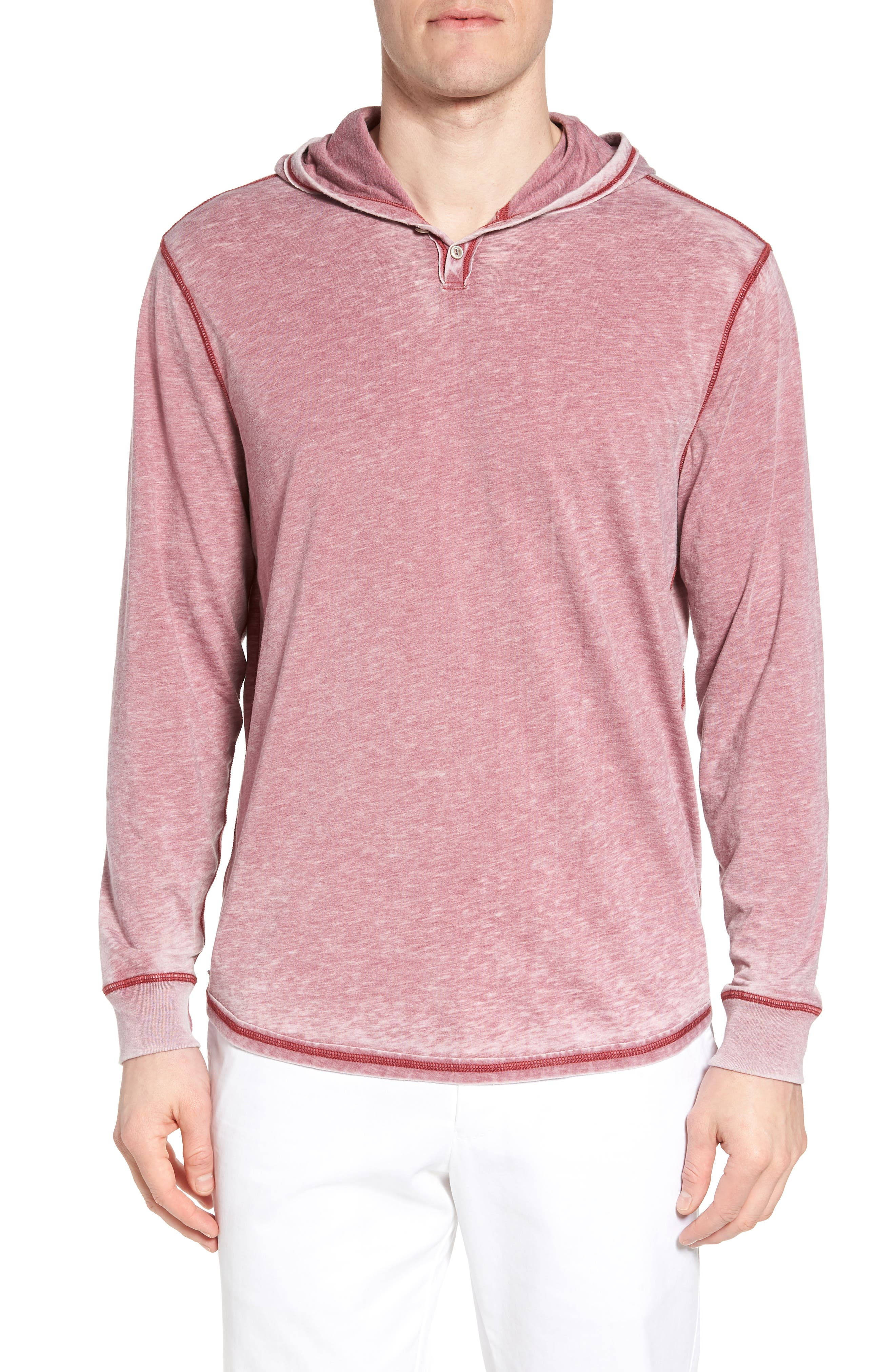 Burnout Henley Hoodie,                             Main thumbnail 1, color,                             Vintage Cabernet