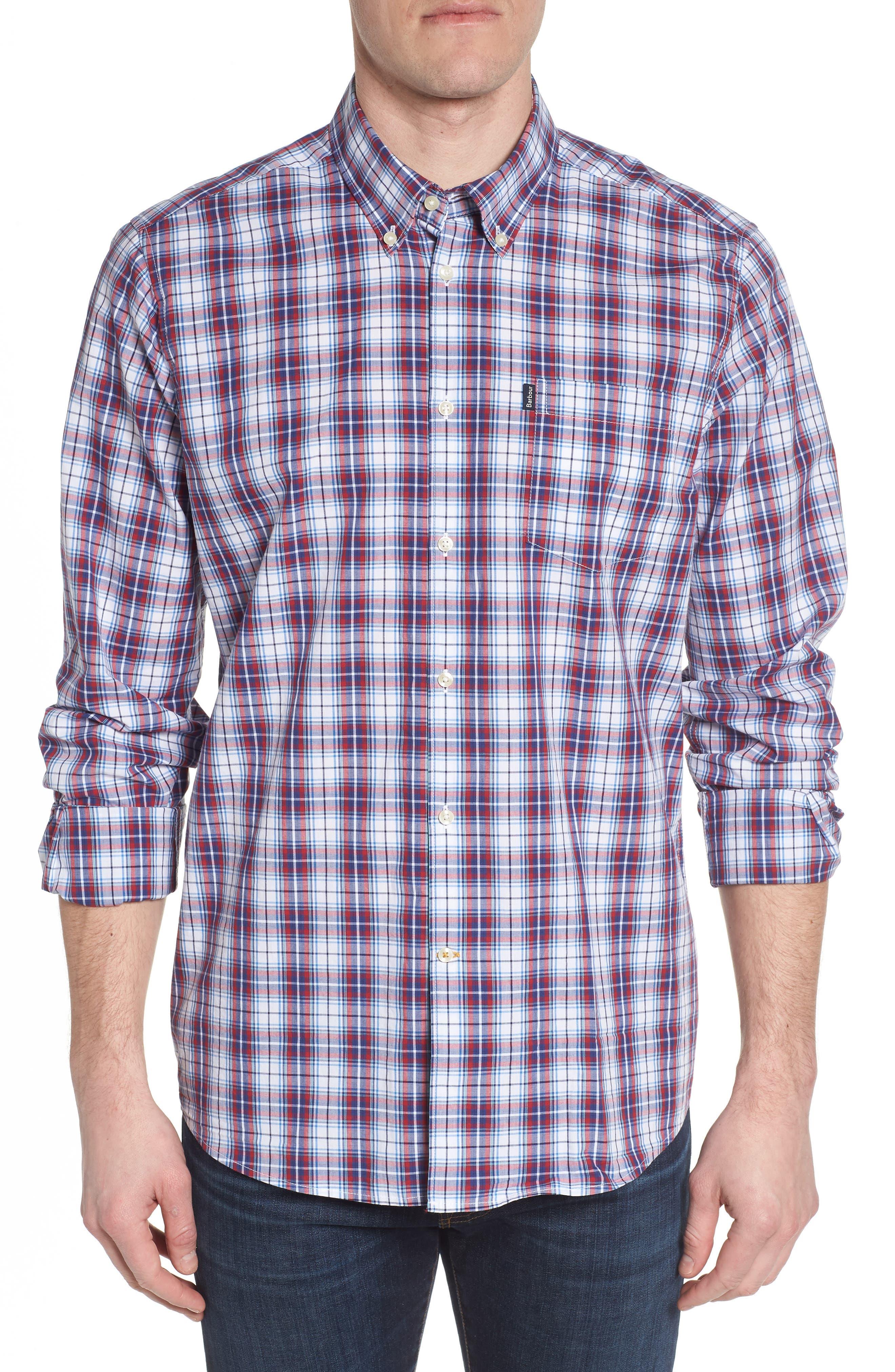 Leo Trim Fit Plaid Sport Shirt,                         Main,                         color, Red