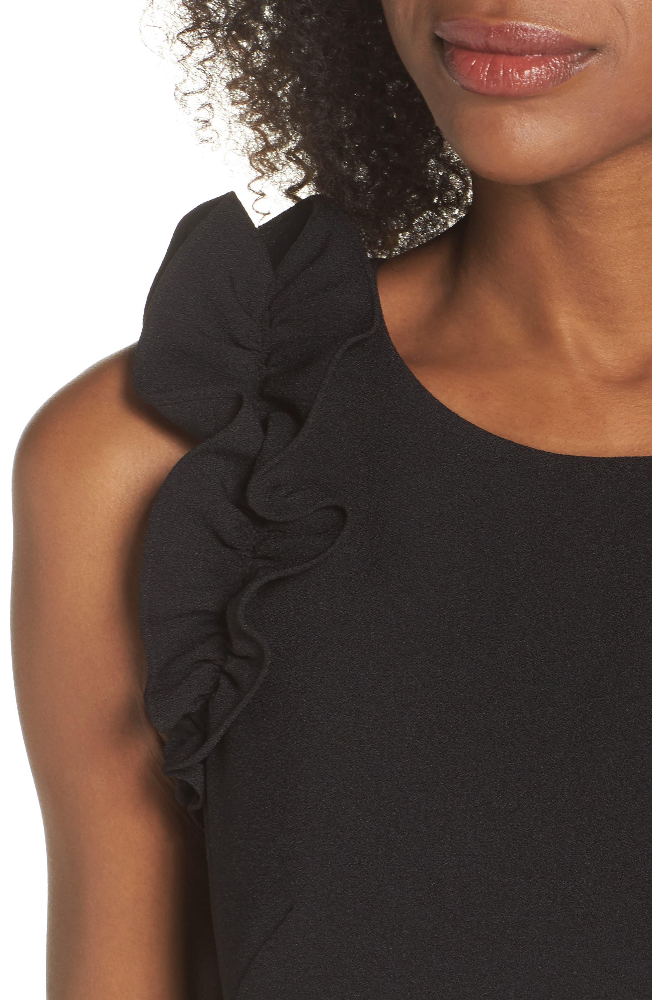 Ruffle Shoulder Crepe Shift Dress,                             Alternate thumbnail 4, color,                             Black