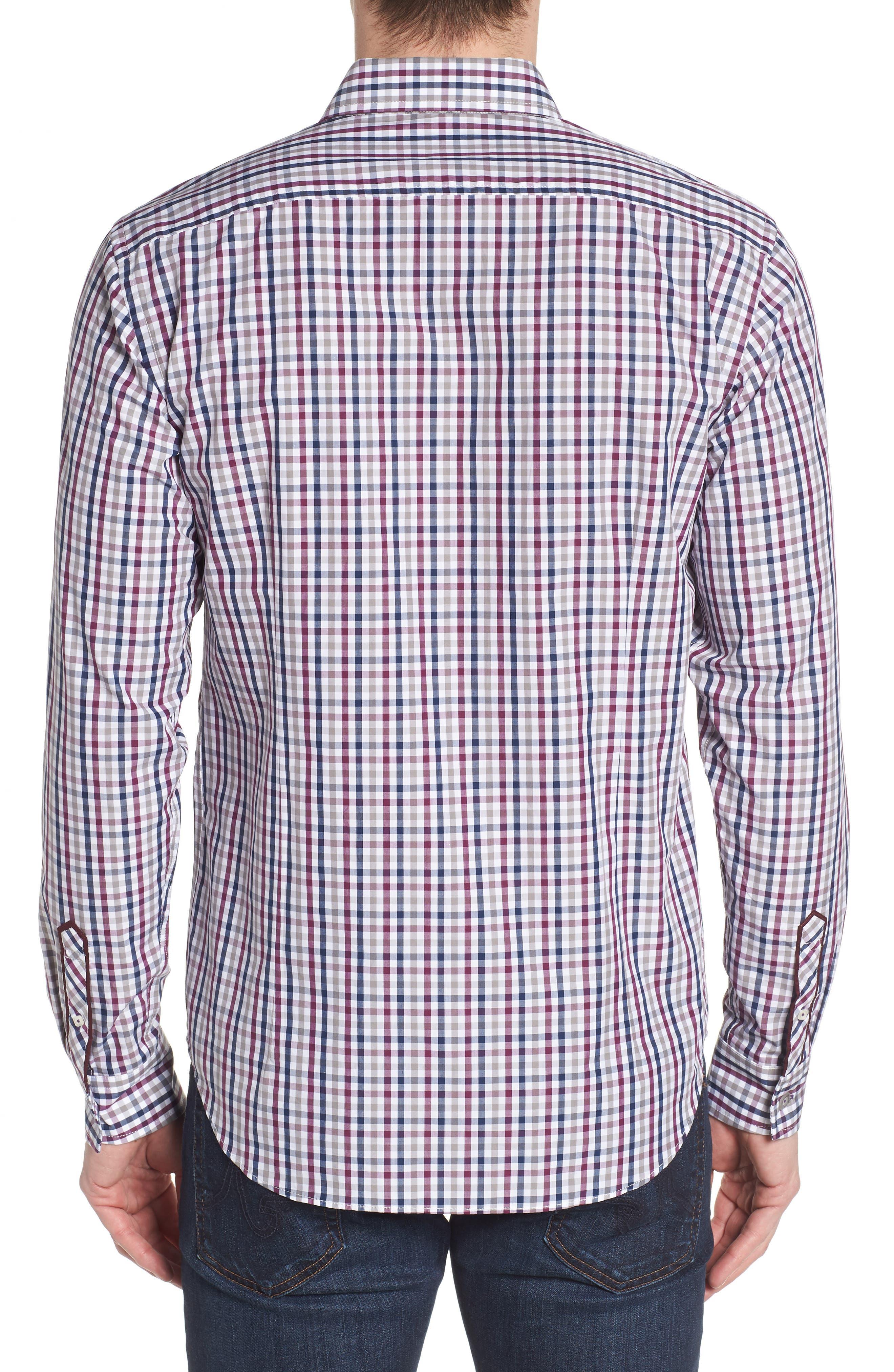 Slim Fit Check Sport Shirt,                             Alternate thumbnail 2, color,                             Dark Red