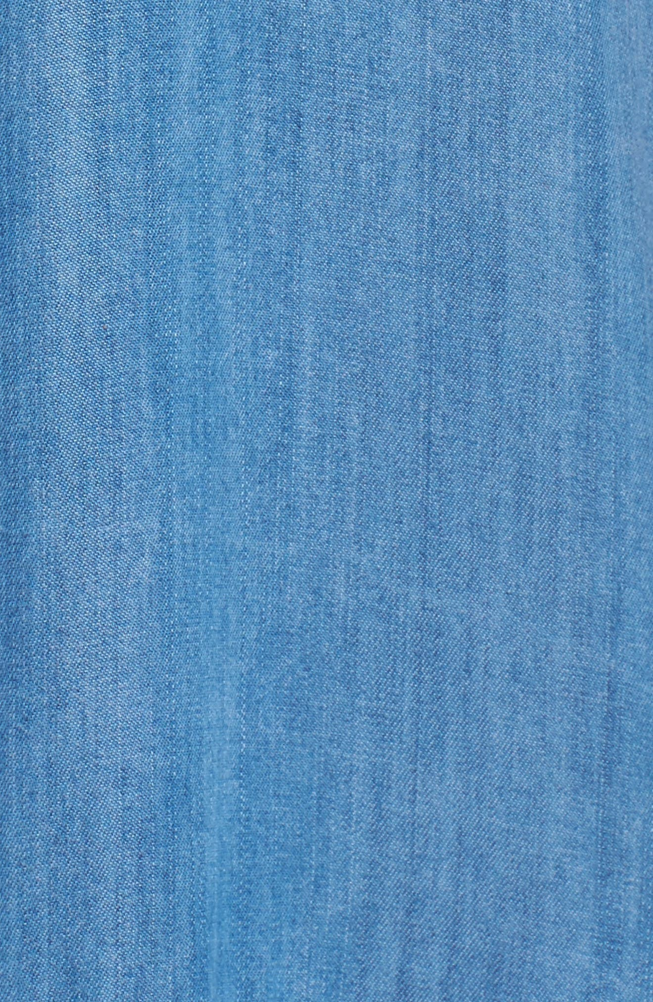 Maven Ruffle Shirtdress,                             Alternate thumbnail 5, color,                             Washed Indigo