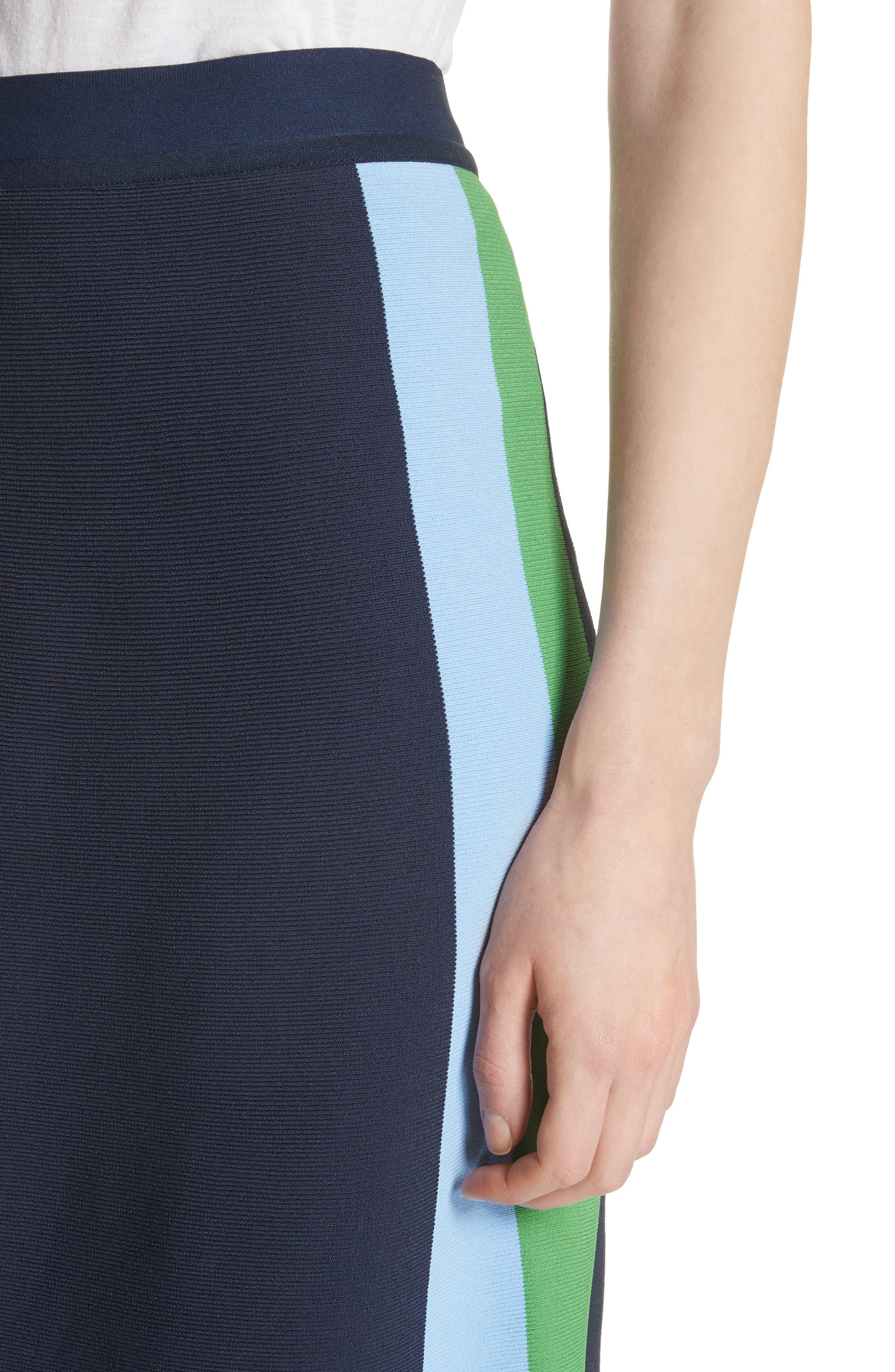 Tech Knit Colorblock Skirt,                             Alternate thumbnail 4, color,                             Tory Navy