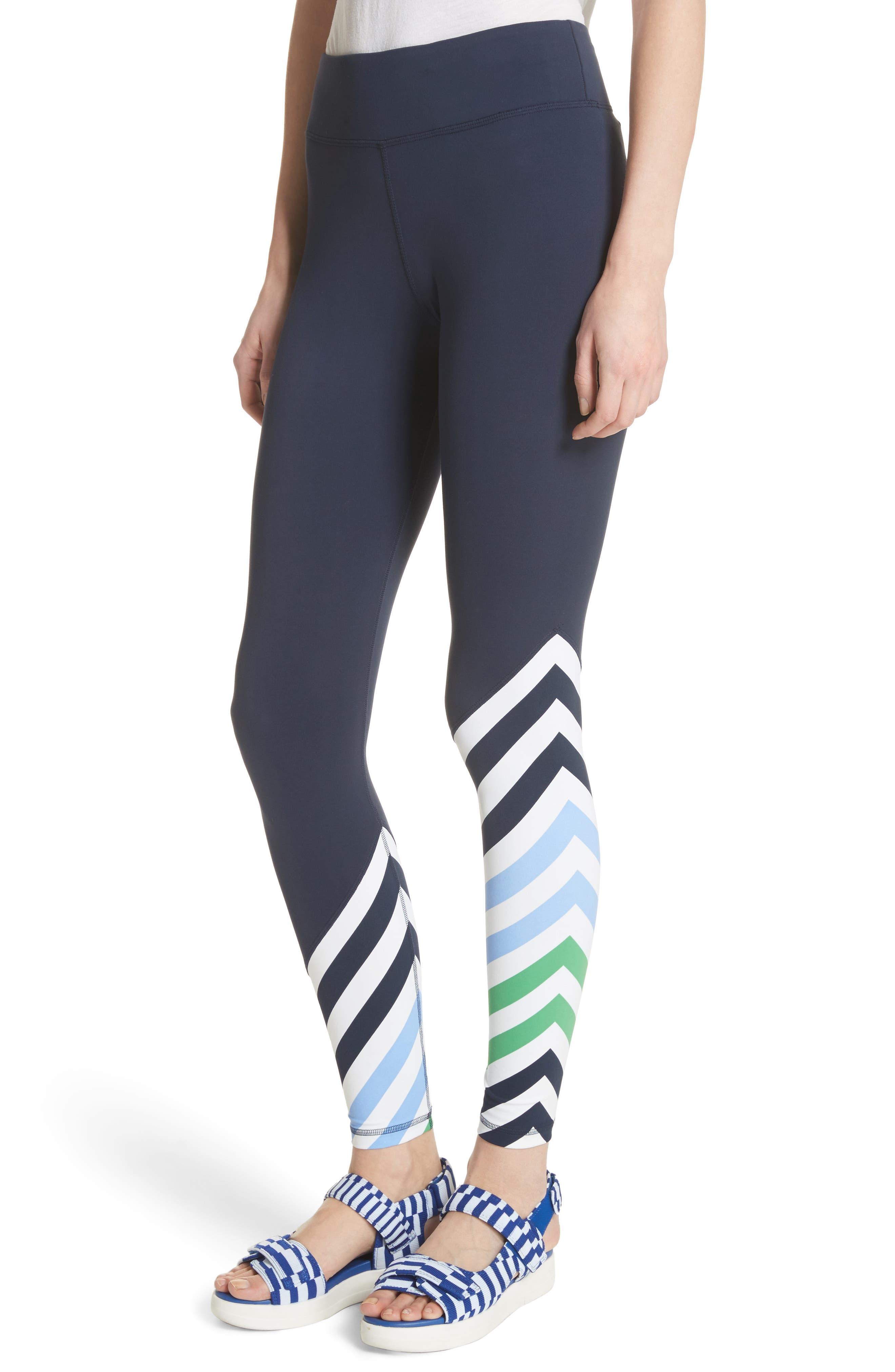 Diagonal Stripe Leggings,                             Alternate thumbnail 4, color,                             Tory Navy