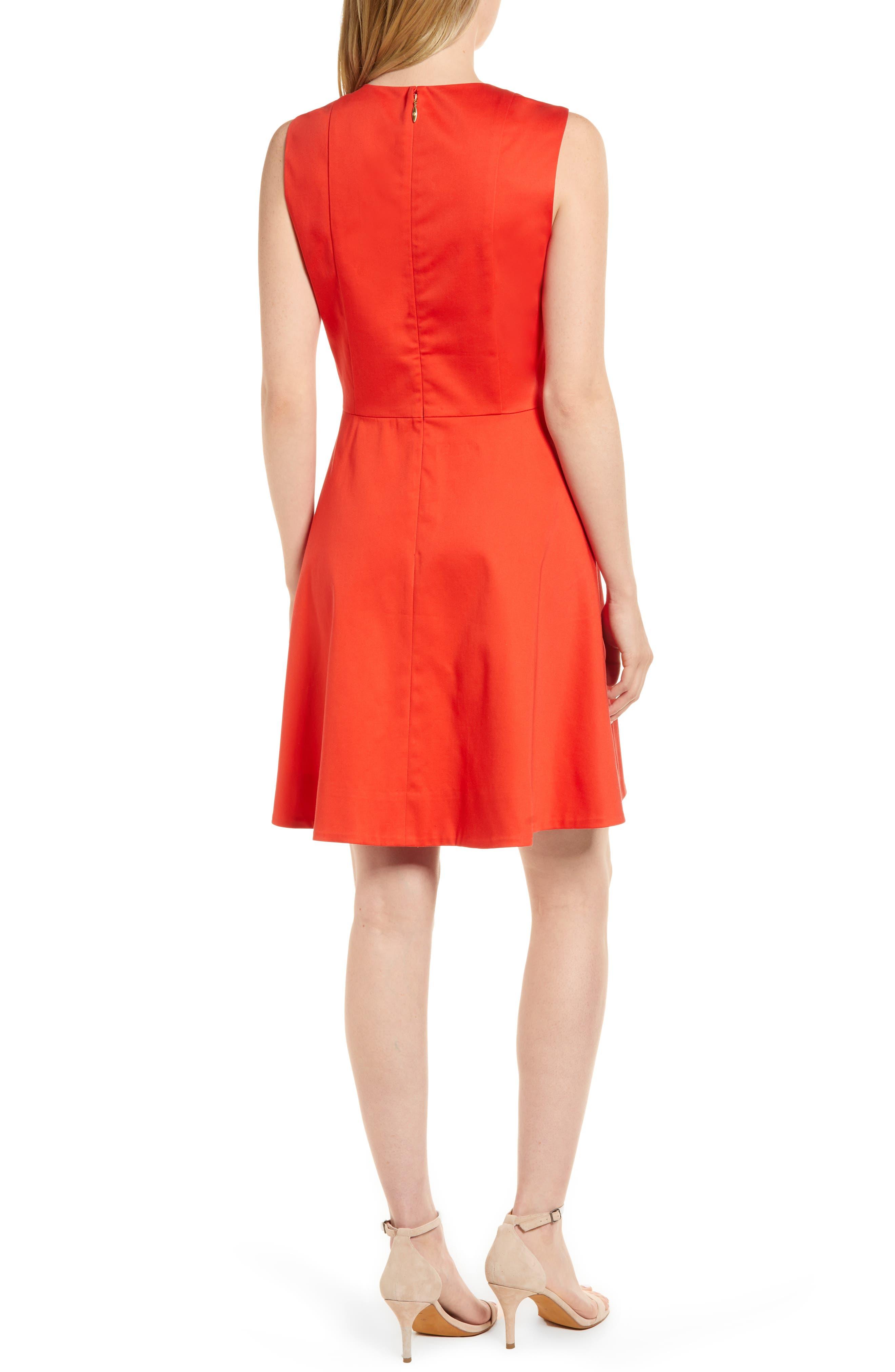 Love Circle V-Neck Dress,                             Alternate thumbnail 2, color,                             Red