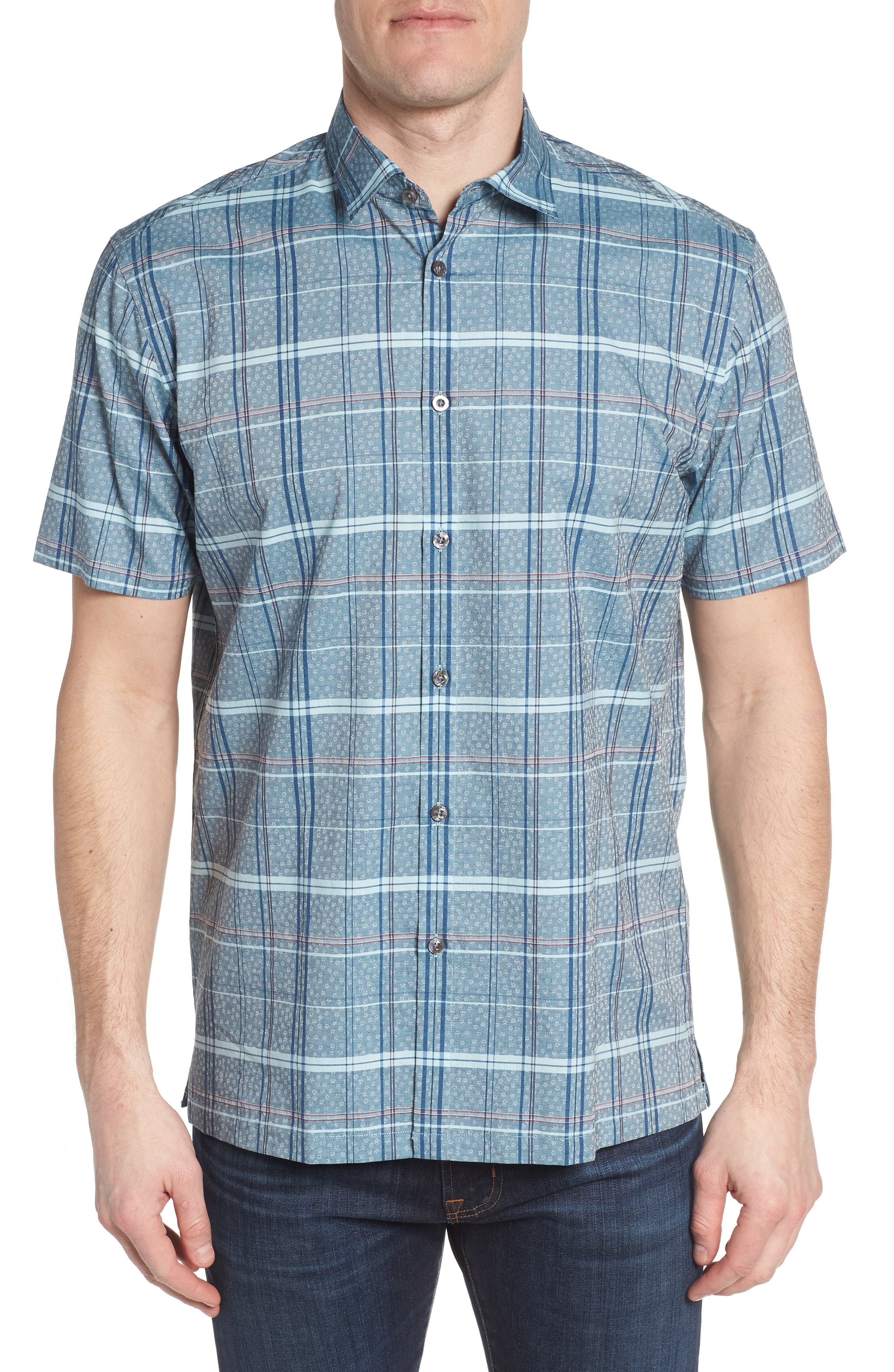 Vacaso Regular Fit Plaid Jacquard Sport Shirt,                             Main thumbnail 1, color,                             Water