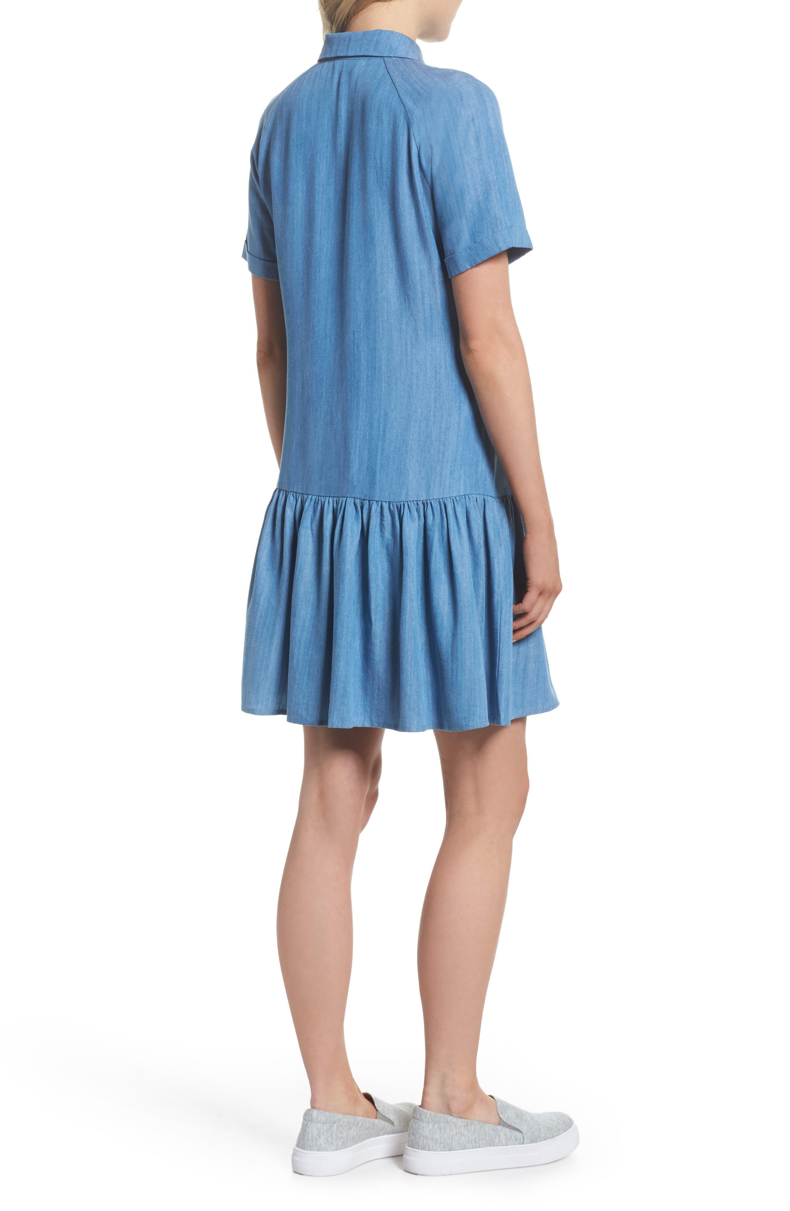 Maven Ruffle Shirtdress,                             Alternate thumbnail 2, color,                             Washed Indigo