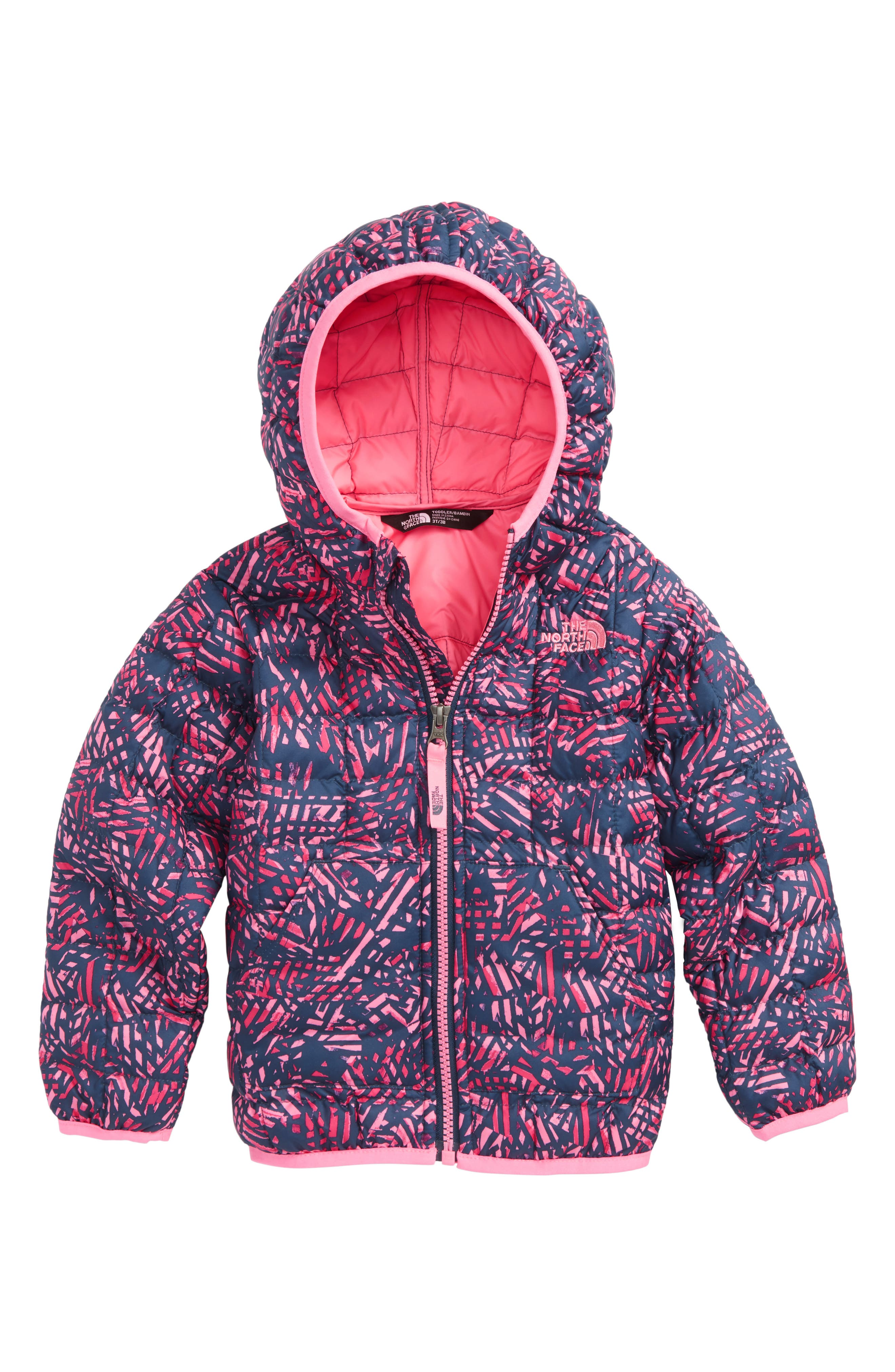 ThermoBall<sup>™</sup> Hooded Jacket,                         Main,                         color, Blue Wing Teal Leaf Print