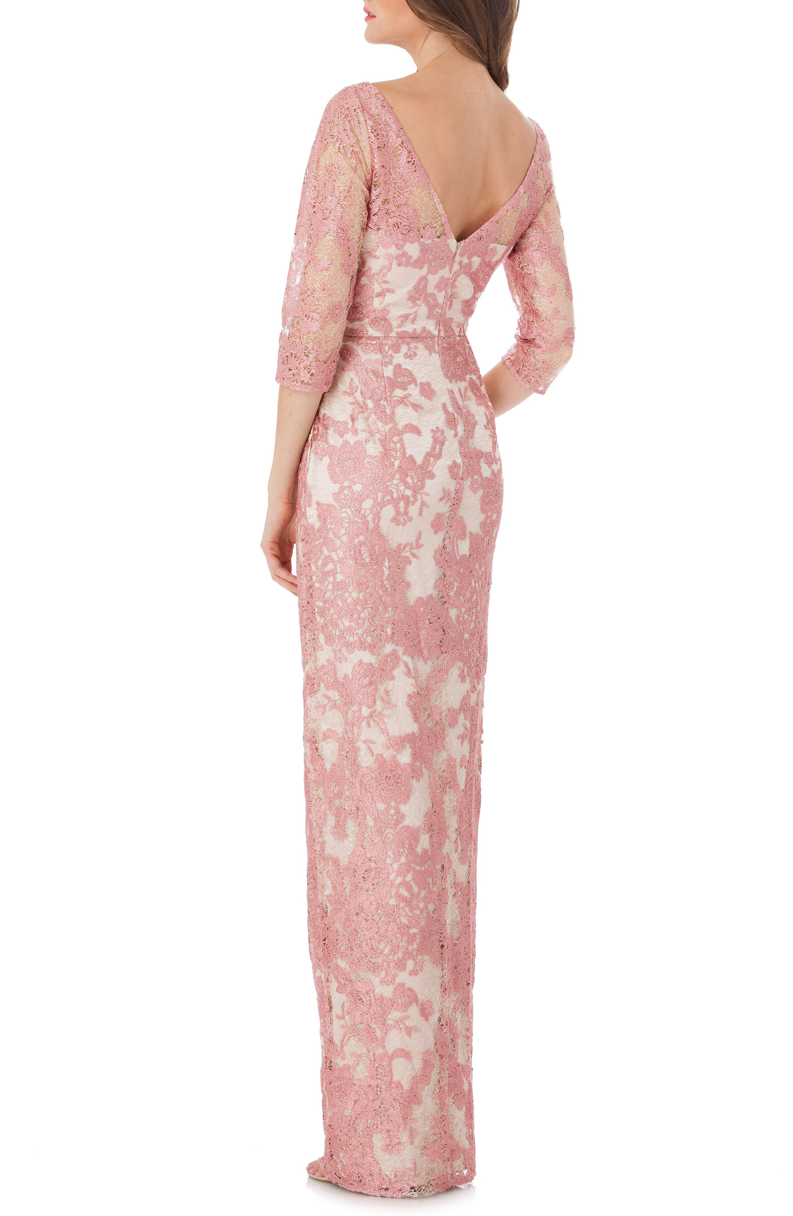 Embroidered Lace Gown,                             Alternate thumbnail 2, color,                             Pink