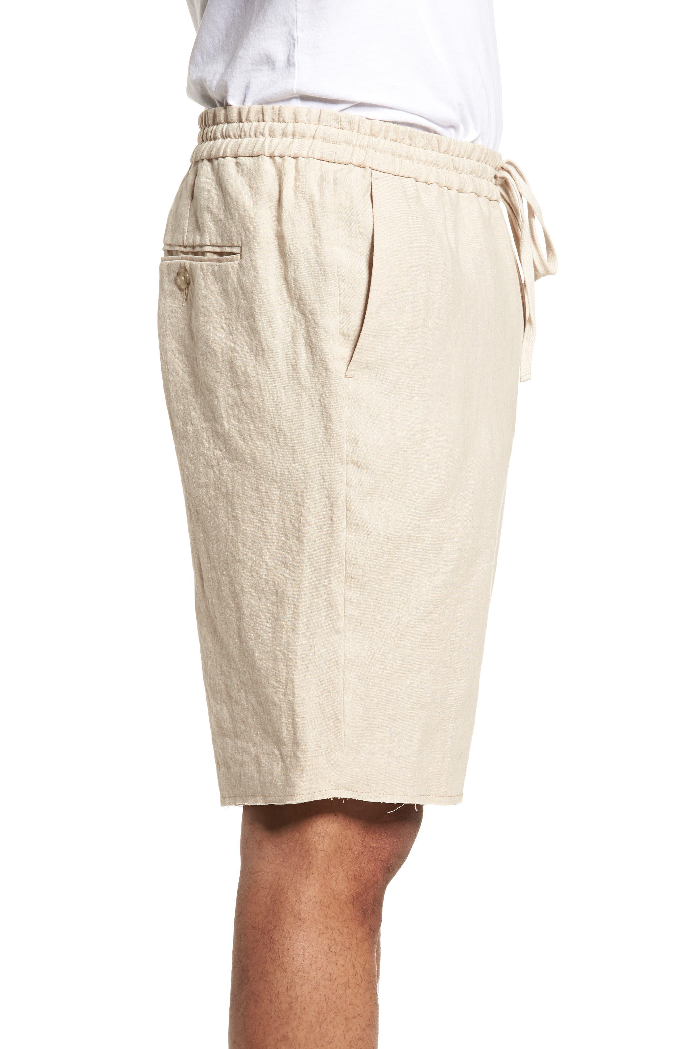 Raw Hem Slim Fit Track Shorts,                             Alternate thumbnail 3, color,                             White Sand