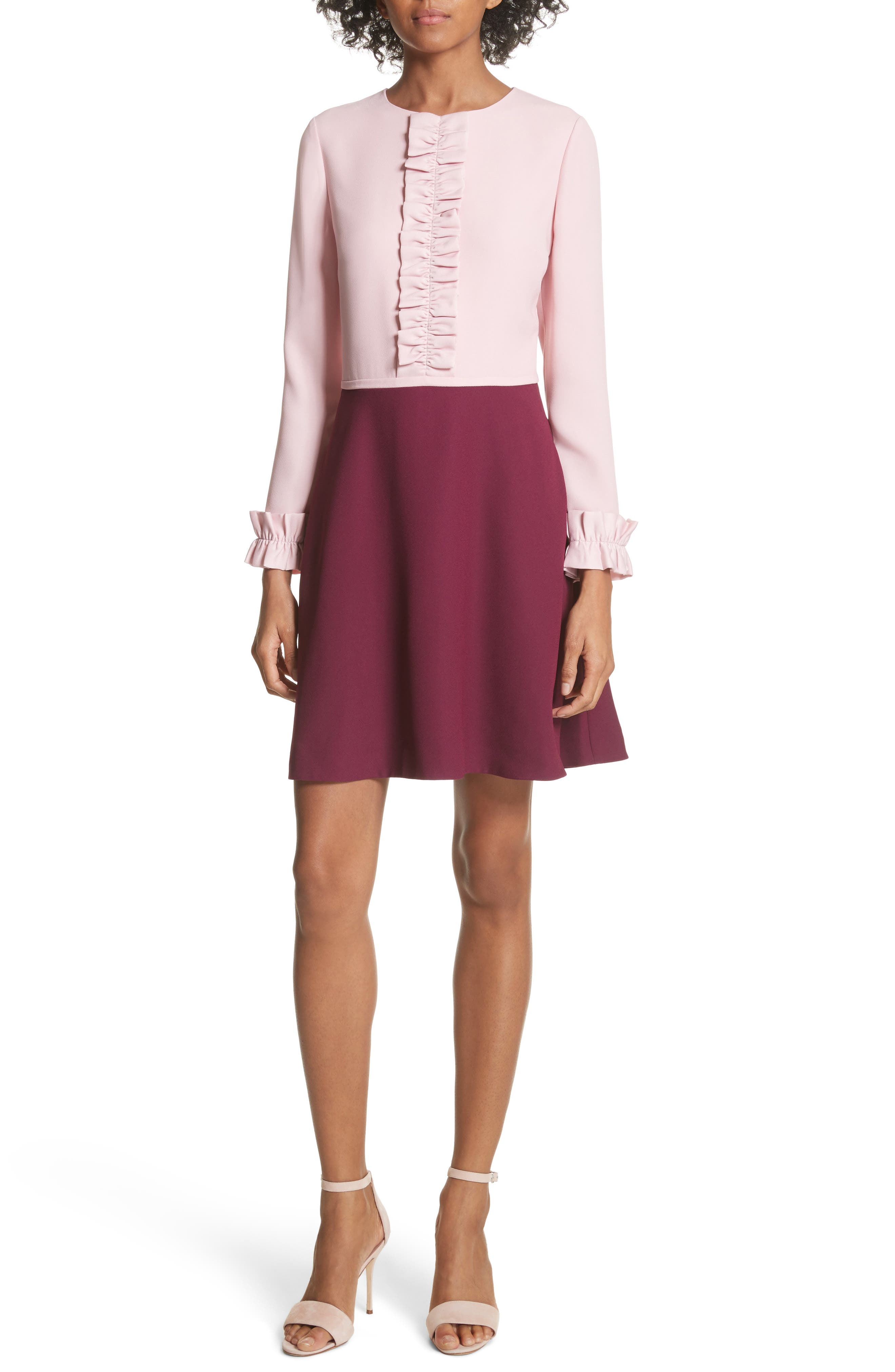 Steyla Ruffle Dress,                         Main,                         color, Dusky Pink