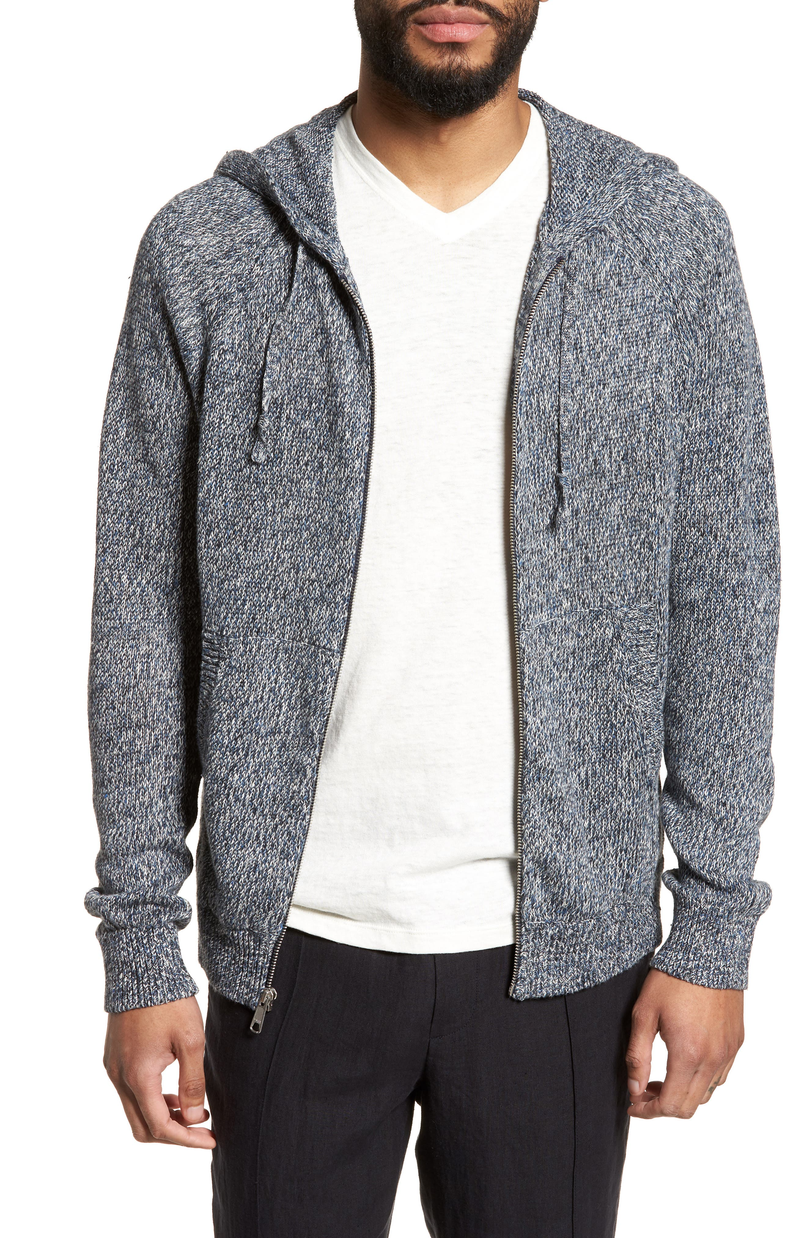 Alternate Image 1 Selected - Vince Slim Fit Marled Linen Zip Hoodie