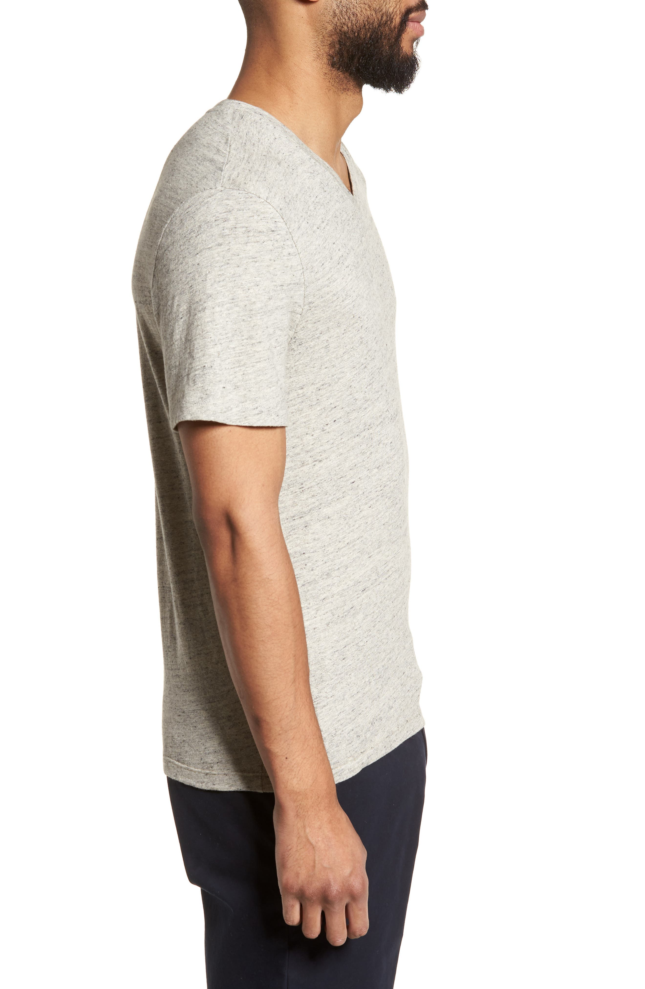 Slim Fit V-Neck T-Shirt,                             Alternate thumbnail 3, color,                             Grey