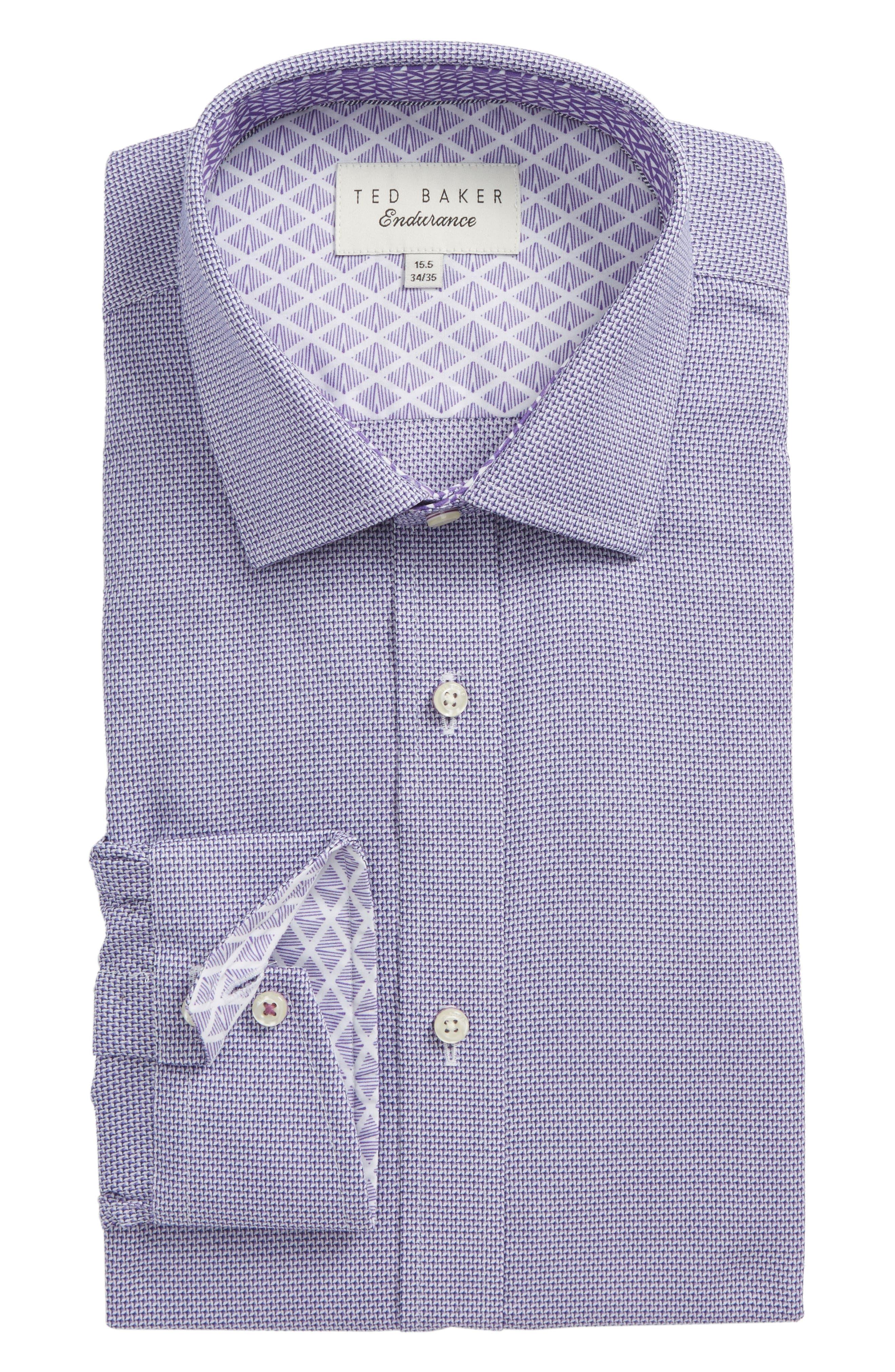 Murgese Trim Fit Geometric Dress Shirt,                         Main,                         color, Purple