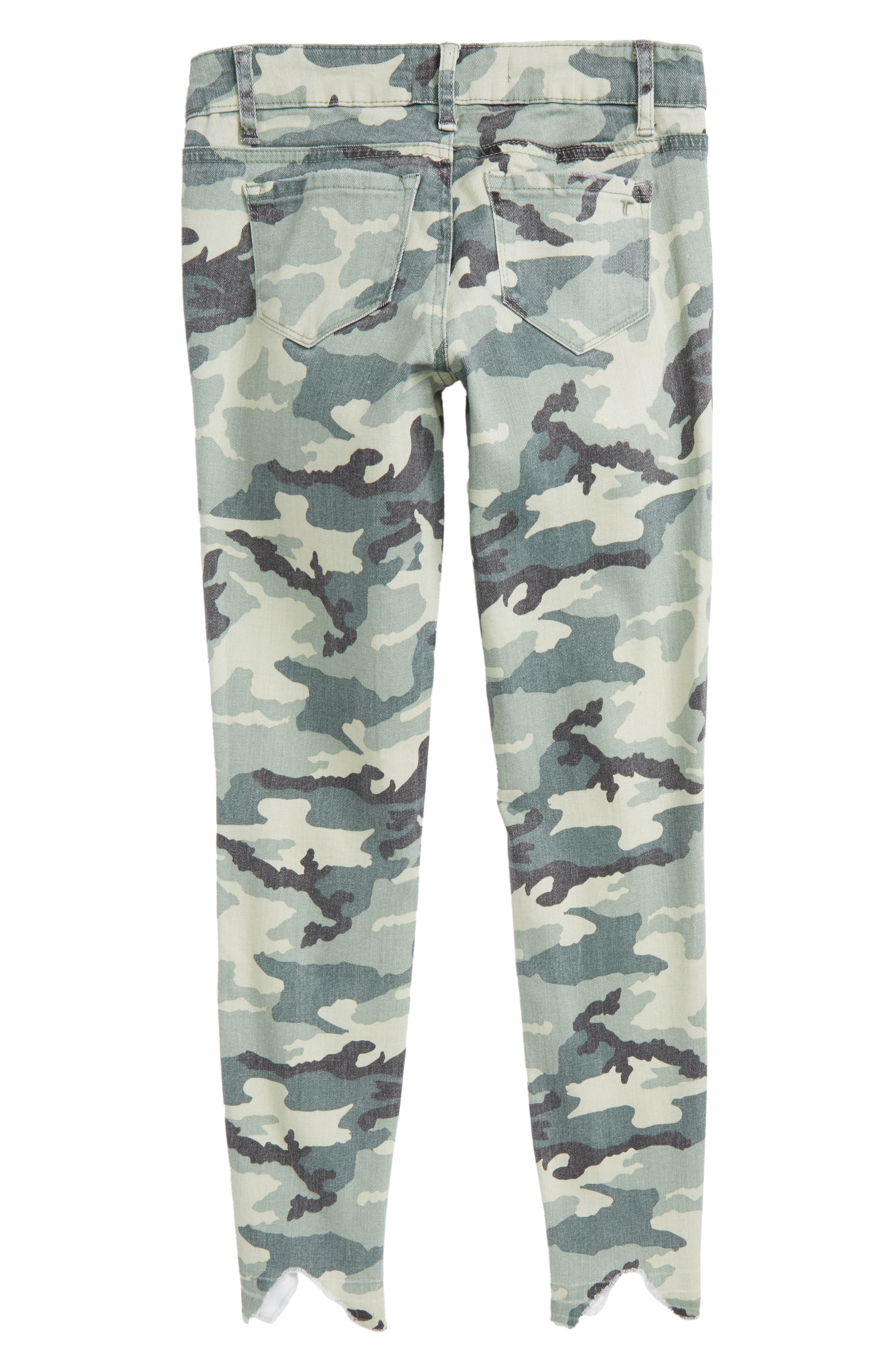 Camo Distressed Crop Jeans,                             Alternate thumbnail 2, color,                             Green