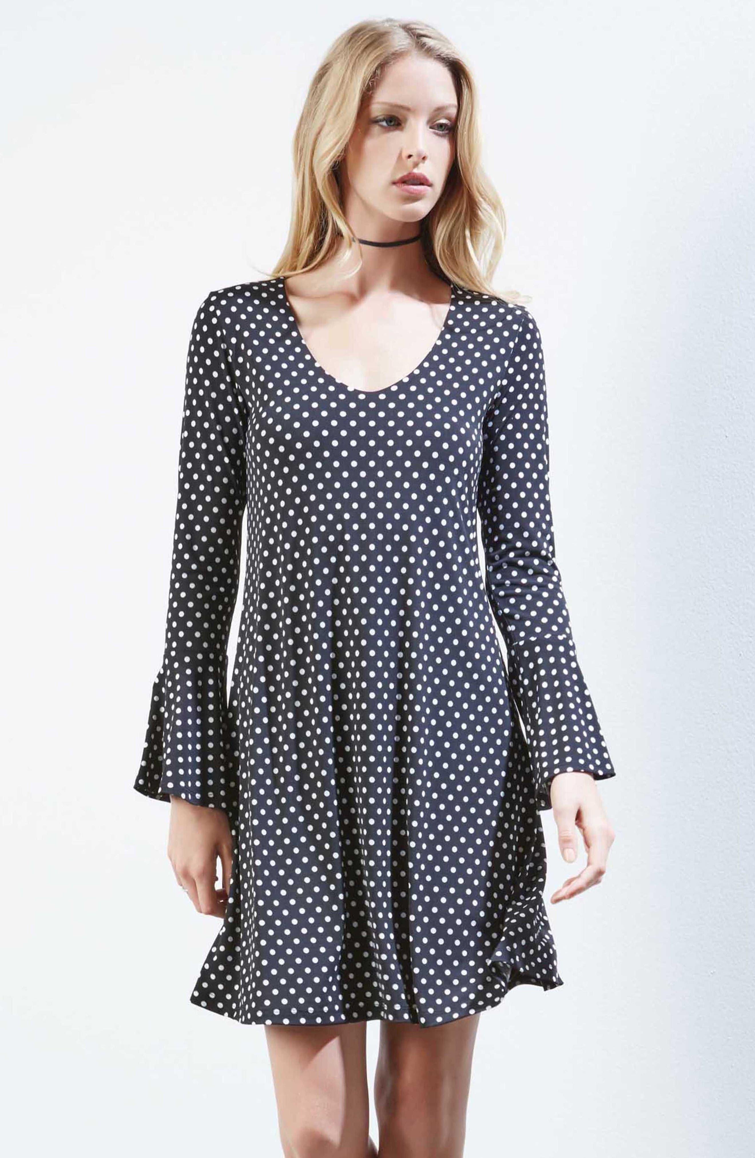 Polka Dot A-Line Dress,                             Alternate thumbnail 2, color,                             Dotted
