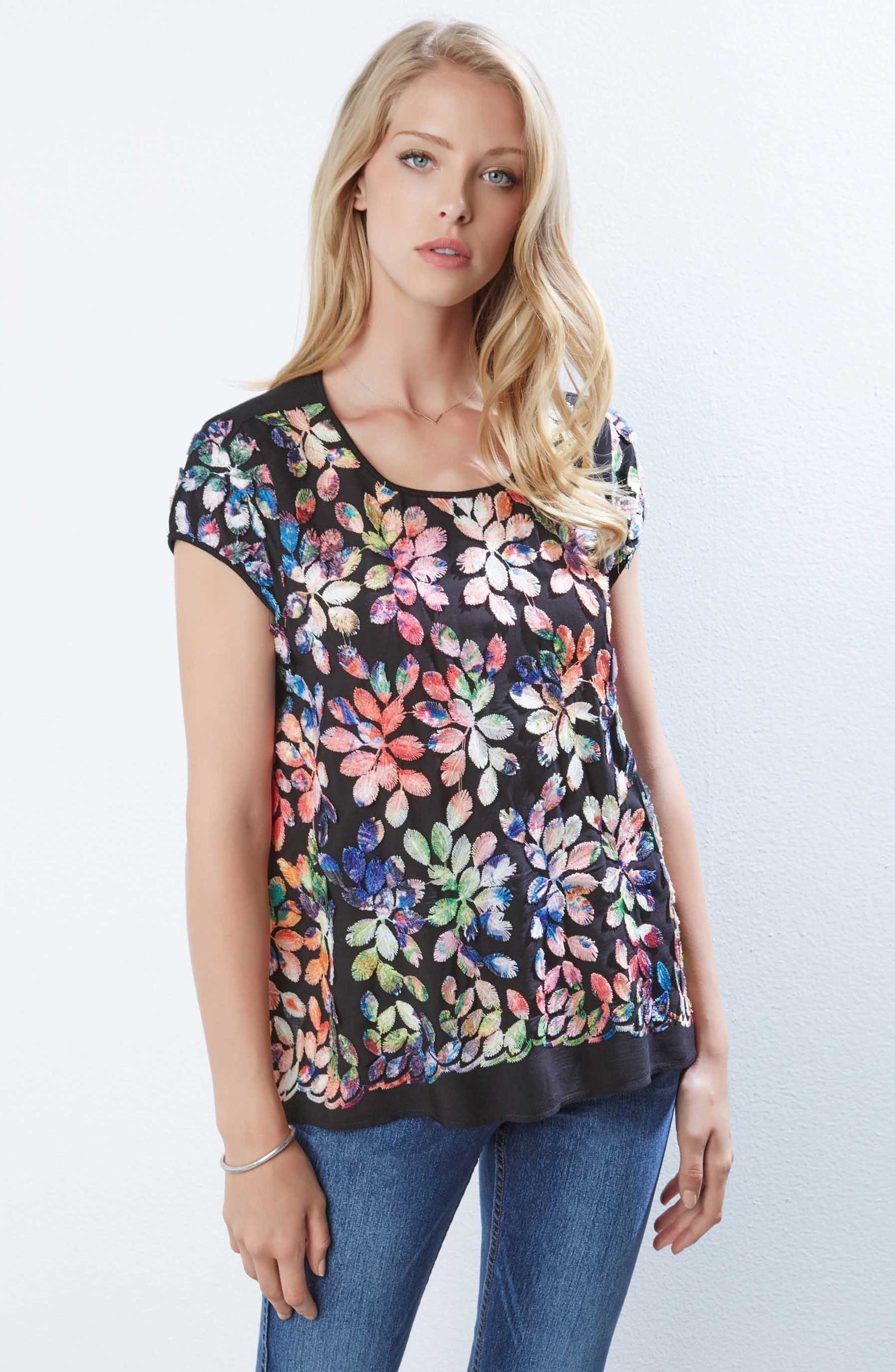 Rainbow Leaf Embroidered Top,                             Alternate thumbnail 3, color,                             Multicolored