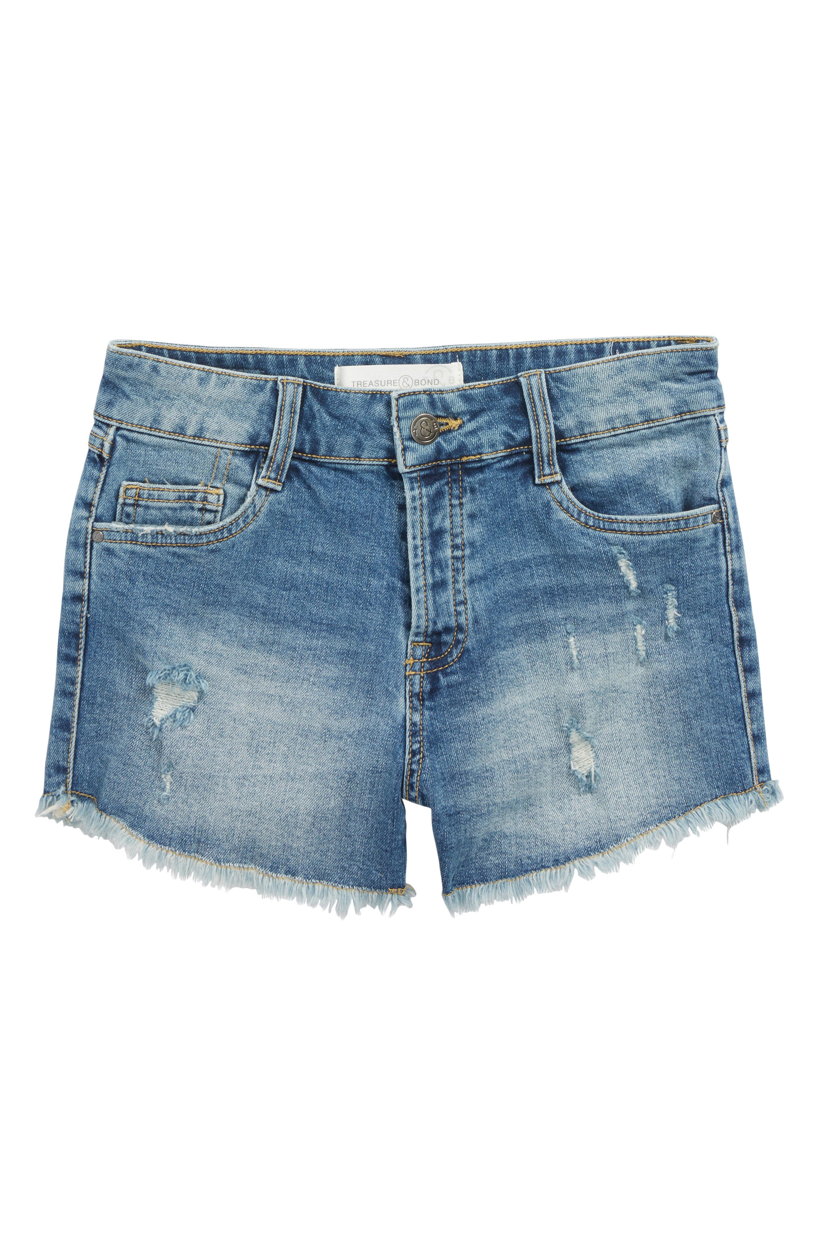 Distressed Cutoff Denim Shorts,                             Main thumbnail 1, color,                             Old School Wash